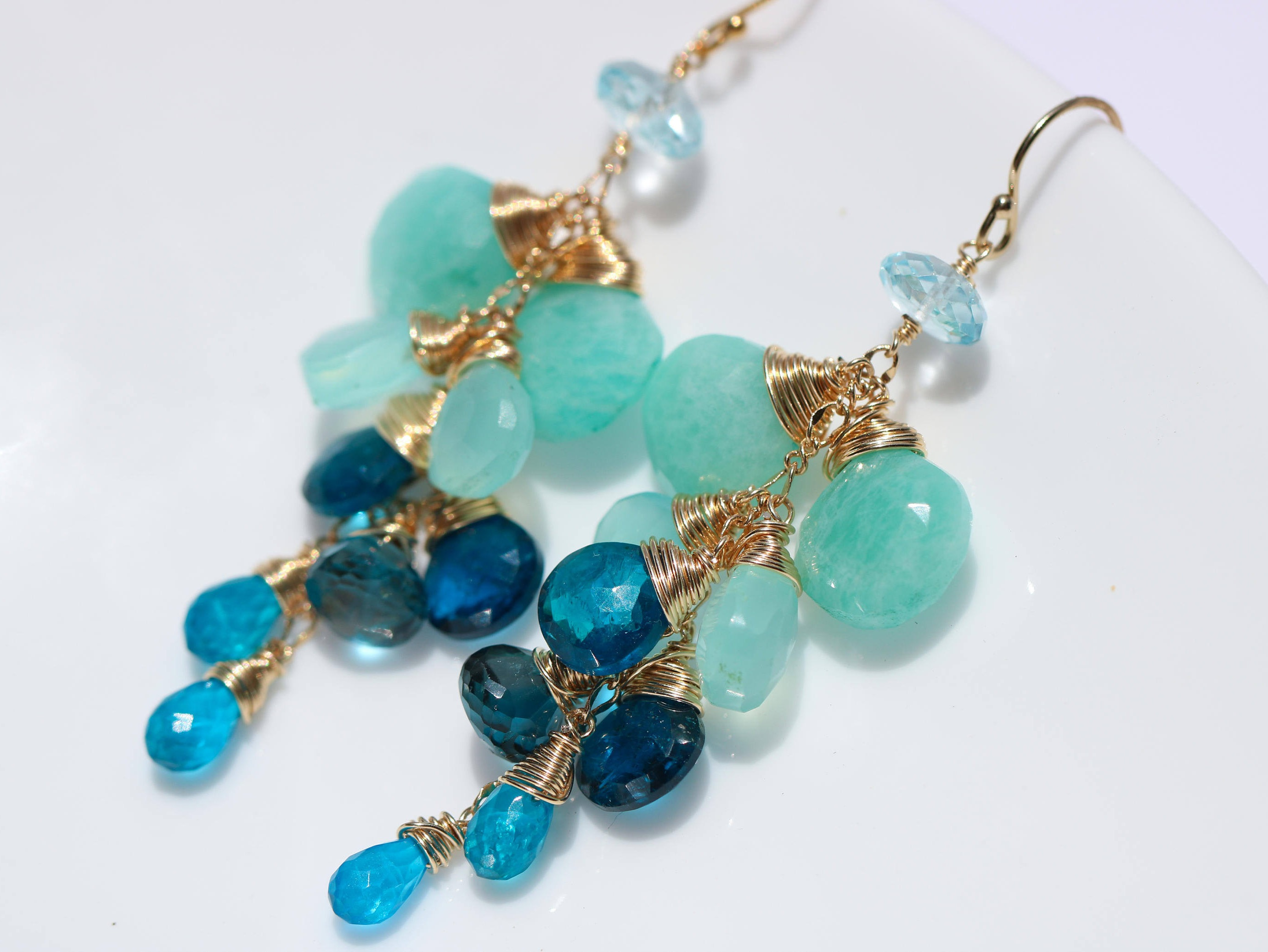royal chand gold stone gemstone bali earrings blue