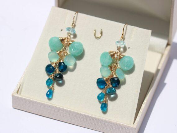 Aqua Blue Amazonite with Topaz, Apatite, Chalcedony Dangle Gemstone Earrings in Gold Filled
