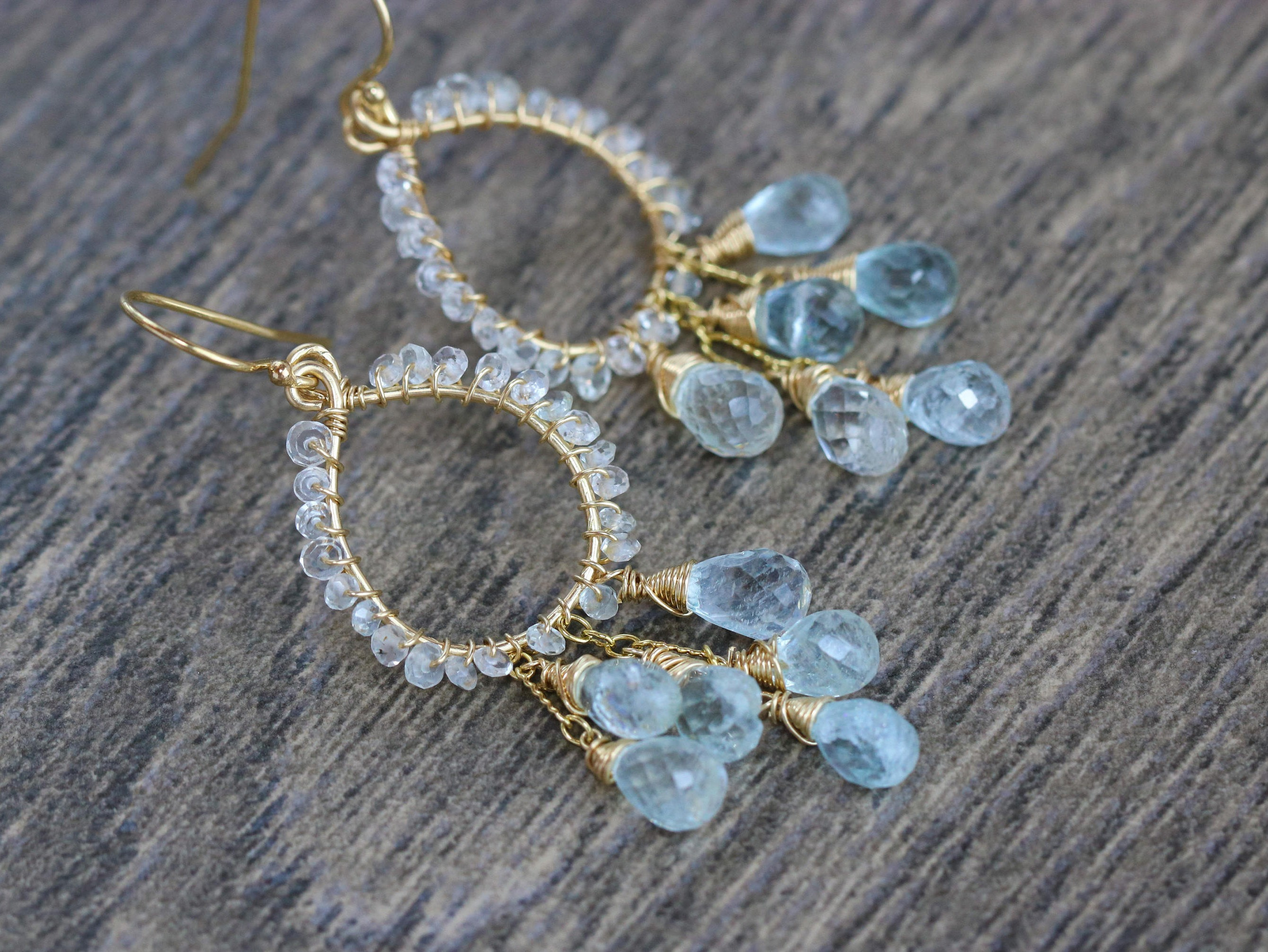 The Morning Dew Earrings Aquamarine Small Chandelier Wire Wred Gemstone