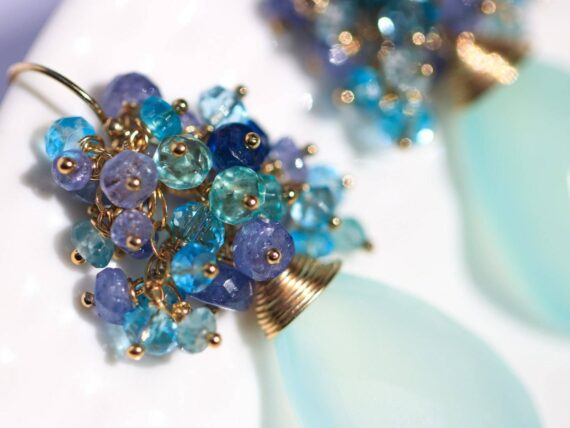 Blue Chalcedony Cluster Earrings with Topaz, Tanzanite and Apatite