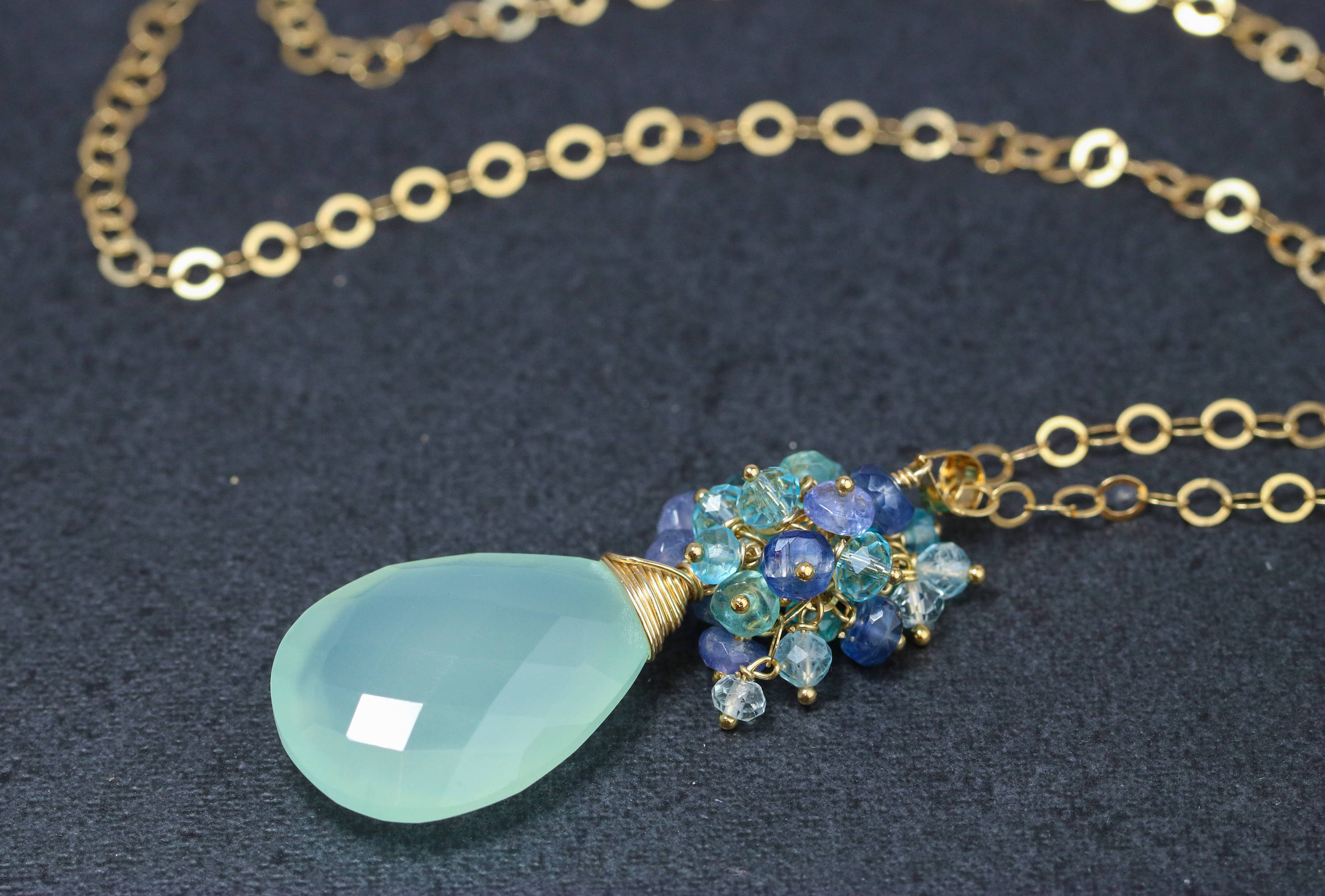 yellow green hires gemstone chalcedony london gb of en serpentine amp pendant and links necklace vermeil gold