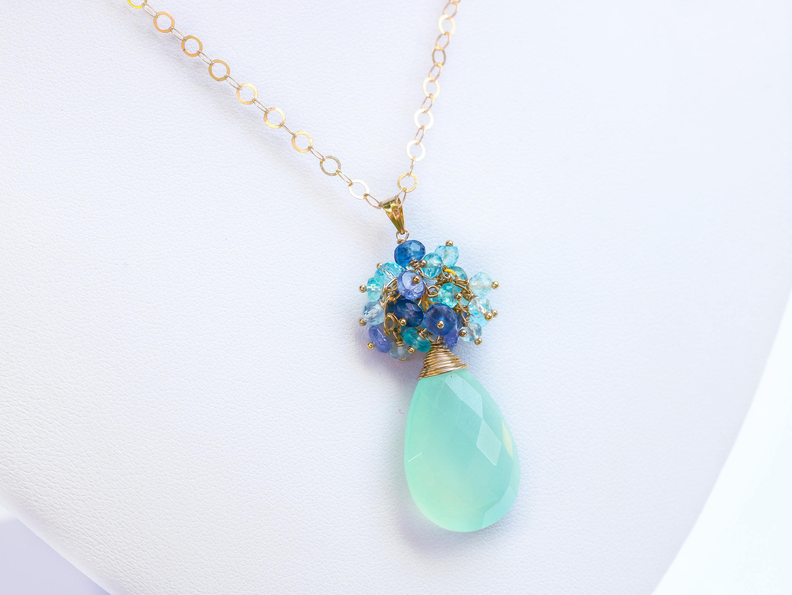 necklace gemstone blue tanzanite with beautiful apatite pendant topaz chalcedony and
