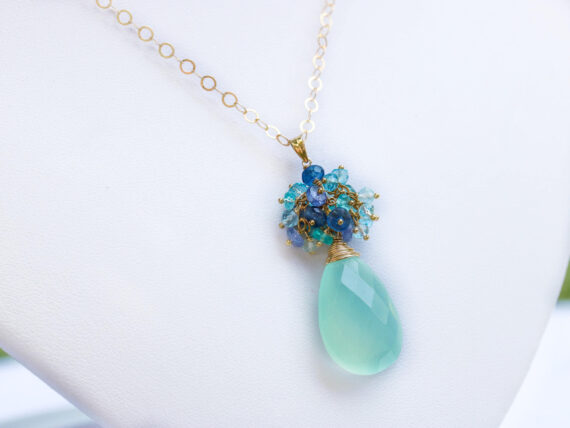 Blue Chalcedony Pendant Necklace with Topaz, Tanzanite and Apatite