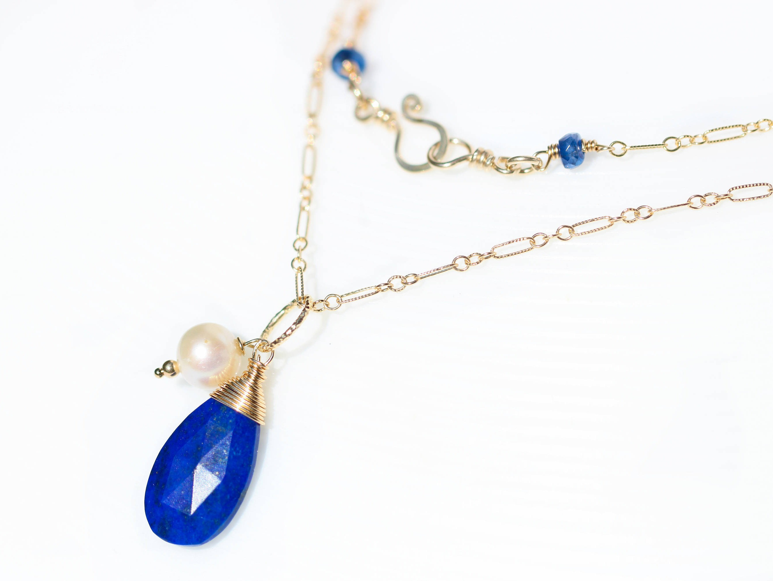 Blue Lapis Lazuli Drop Wire Wrapped Pendant with White Pearl in Gold ...