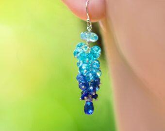 Blue Topaz, Apatite, Kyanite and Sapphires Gemstone Cluster Earrings