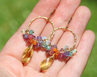 Colorful Gemstone Hoop Earrings, Small Cluster Earrings on Hoops