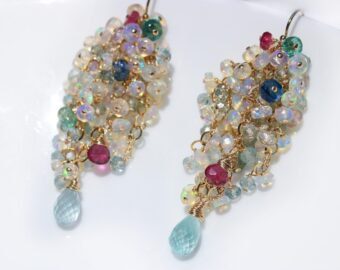Ethiopian Opal Long Cluster Earrings, Statement Earrings with Paraiba Tourmaline, Pink Tourmaline and Aquamarine
