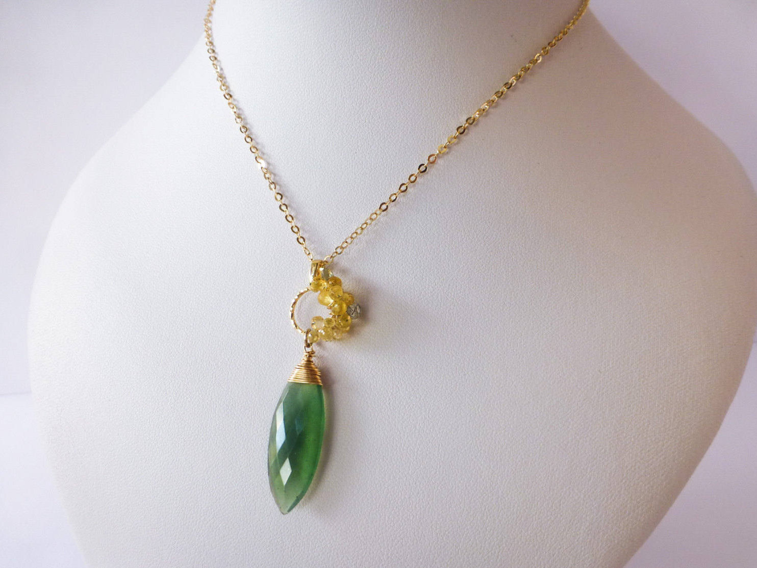 Emerald Green Serpentine Necklace with Yellow Sapphires Wire Wrapped ...