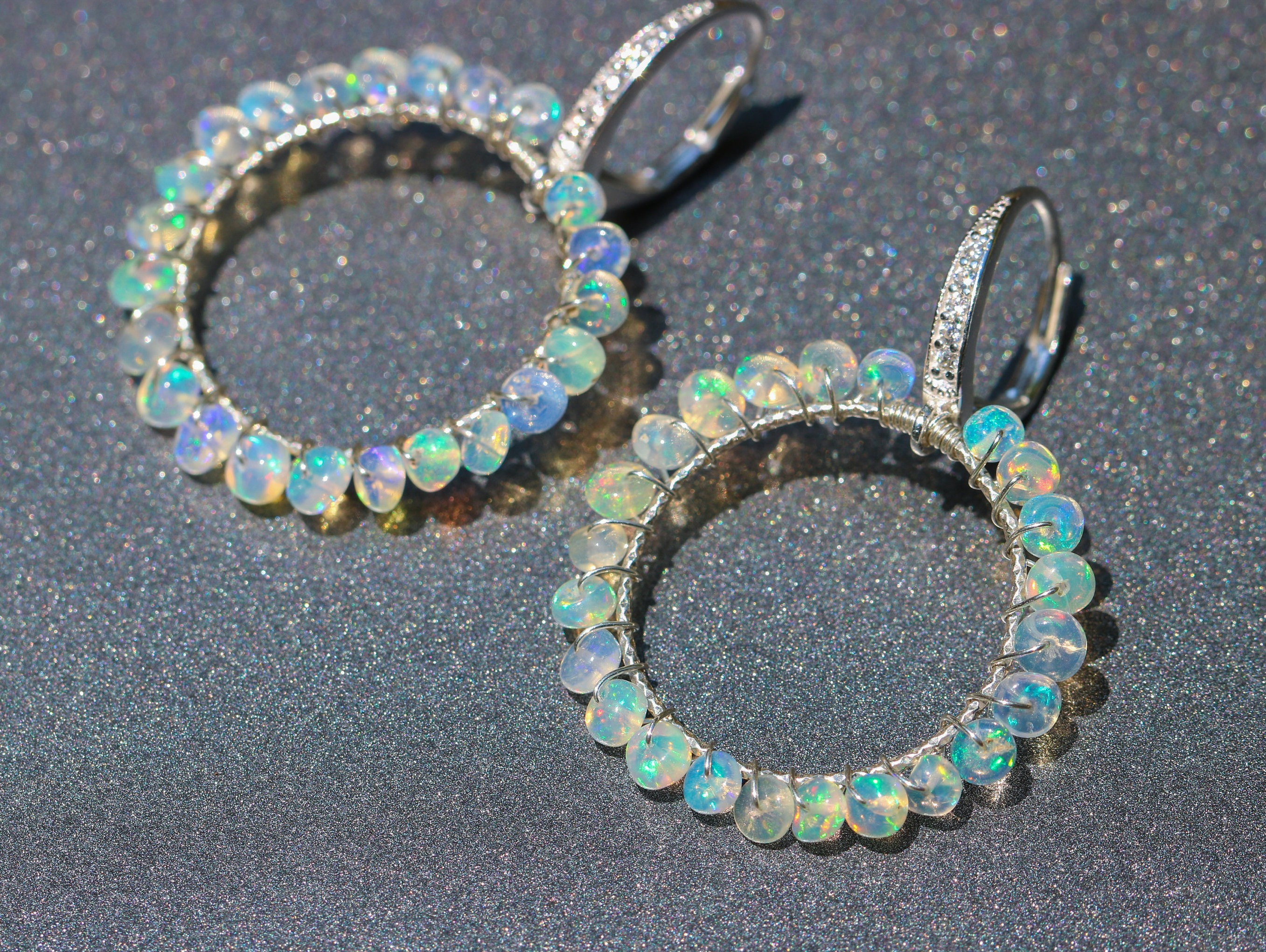 earrings opal naples black i index yg