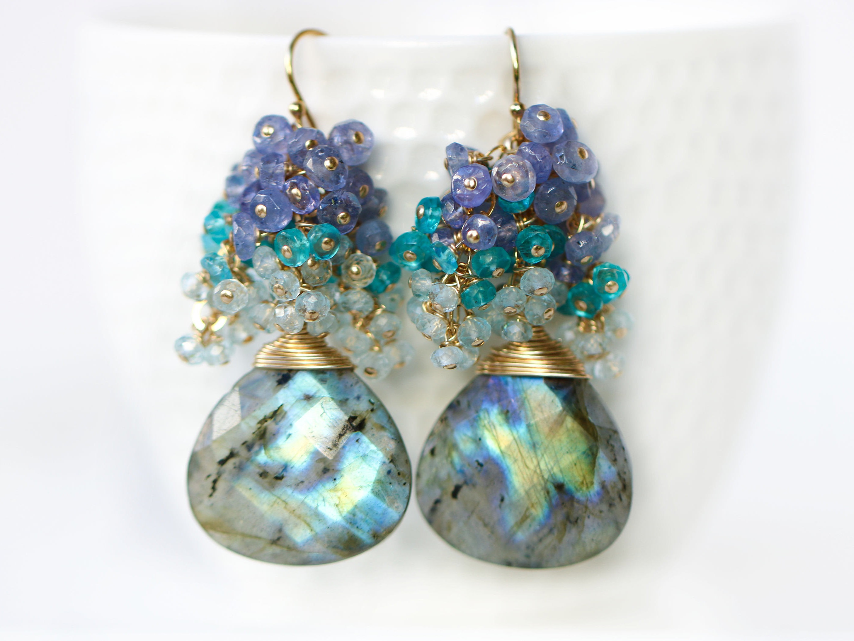 flashy topaz sunset design and tanzanite the apatite earrings labradorite blue with cluster