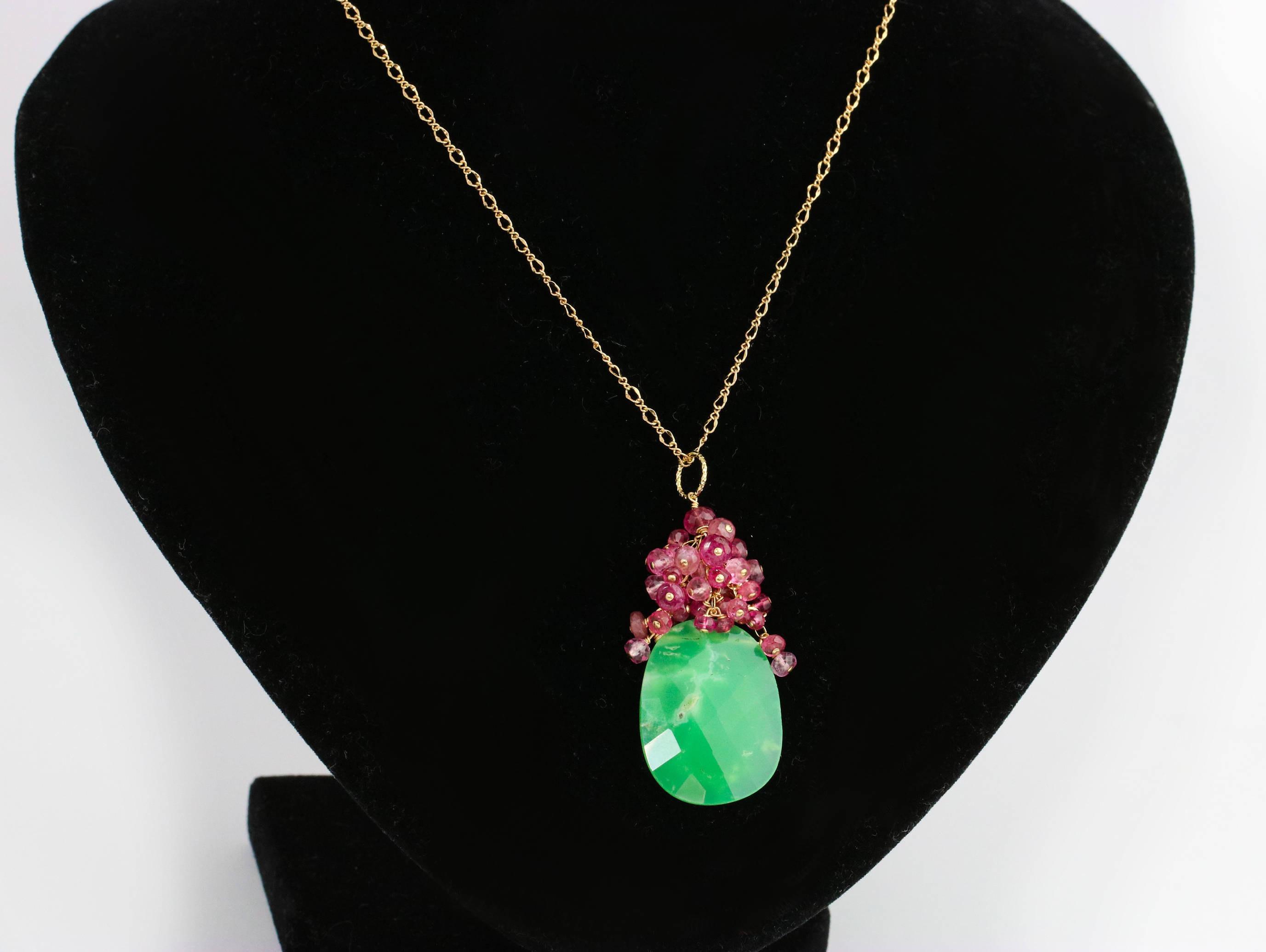 green chrysoprase cluster pendant necklace in gold filled. Black Bedroom Furniture Sets. Home Design Ideas