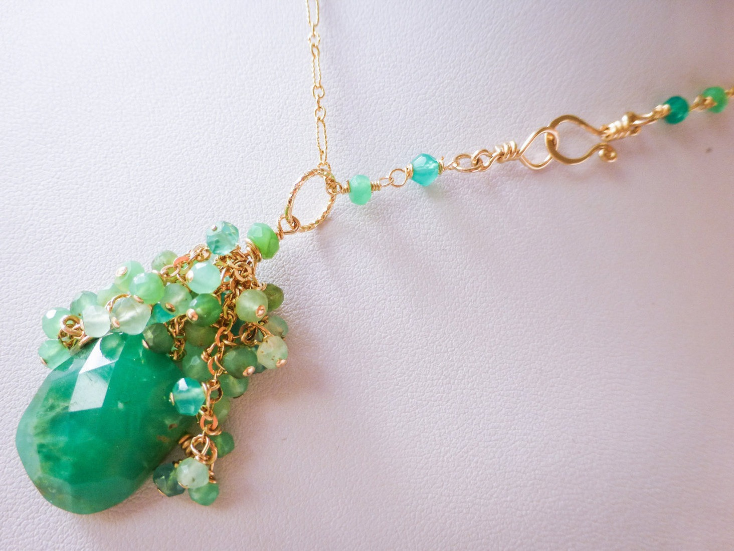 cluster design with filled pendant green sapphires necklace topazes gold and tourmaline in chrysoprase pink