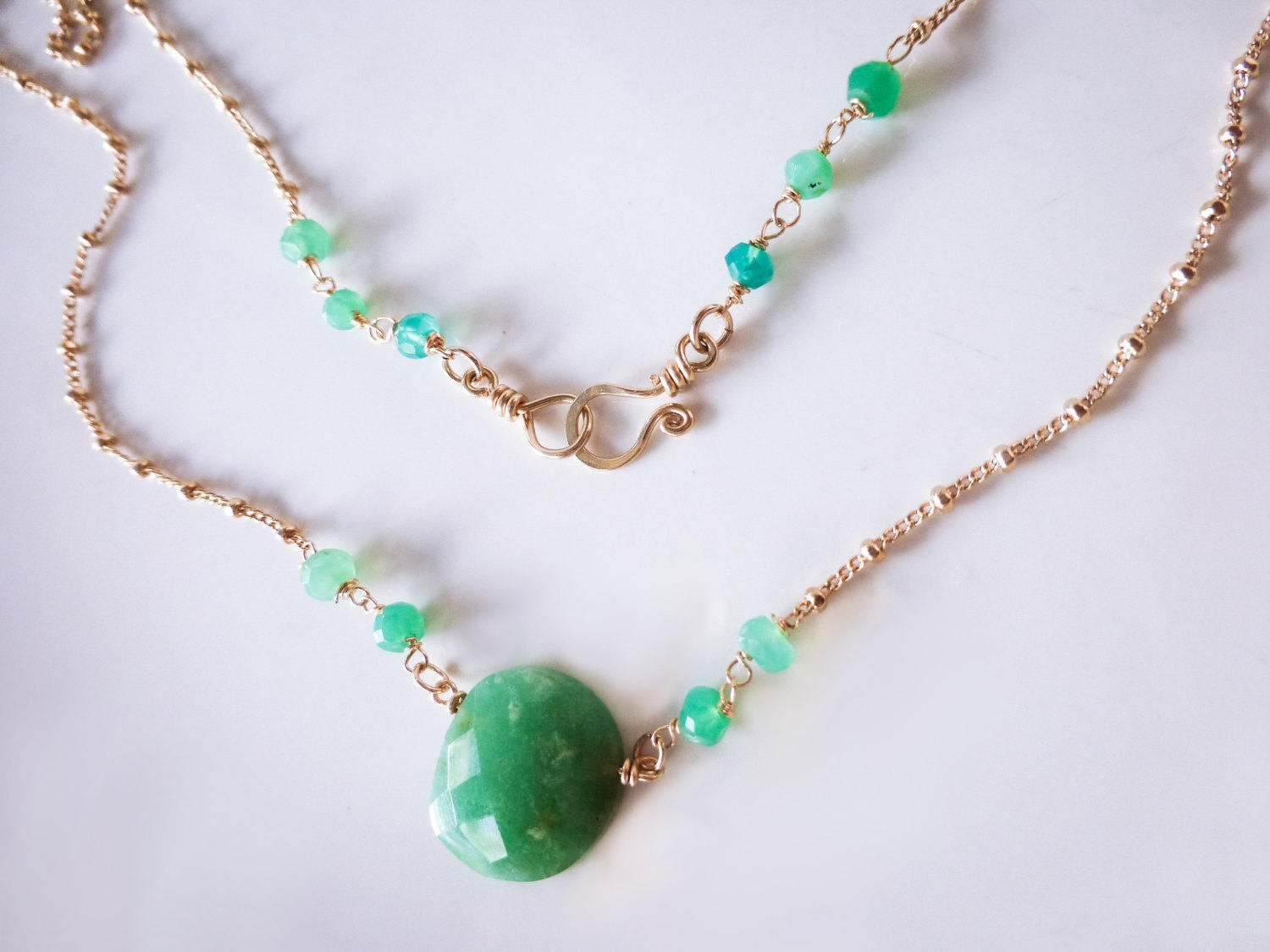 chalcedony jade new and aquamarine chrysoprase products necklace aqua pearl