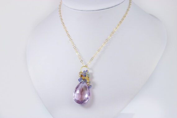 Huge Natural Pink Amethyst Pendant with Tanzanite, Topaz and Citrine in Gold Filled