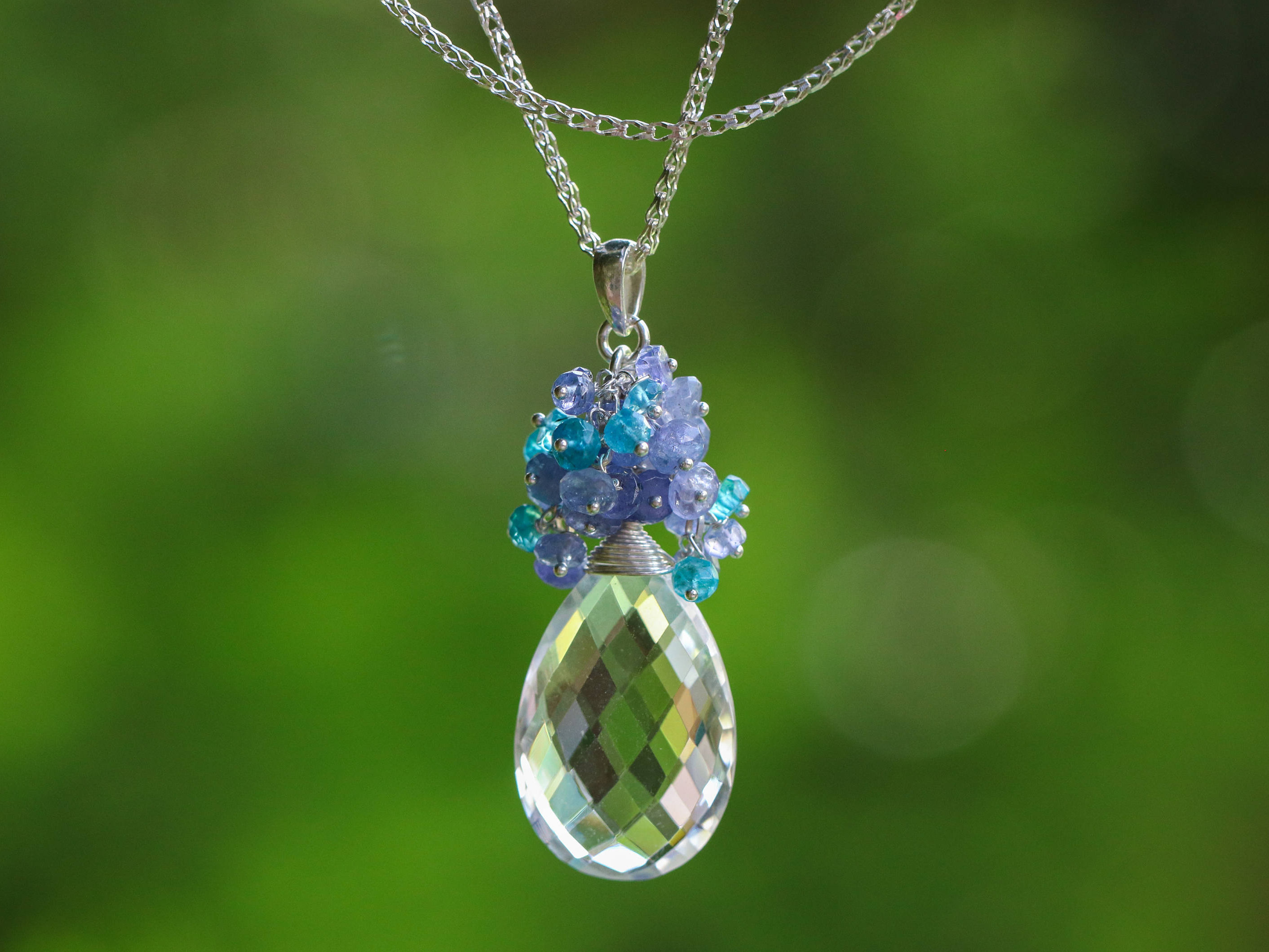 Huge natural rock crystal briolette with tanzanite and apatite the crystal lake pendant huge natural rock crystal briolette with tanzanite and apatite silver pendant necklace aloadofball Gallery