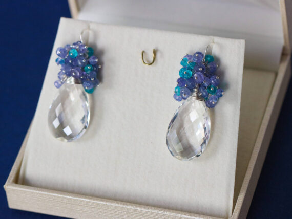 Huge Natural Rock Crystal Briolettes with Tanzanite and Apatite Silver Cluster Earrings