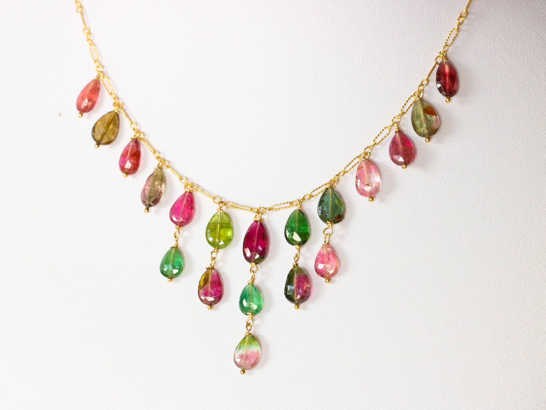 Luxury Watermelon Tourmaline Statement Bib Necklace in Gold Filled ...