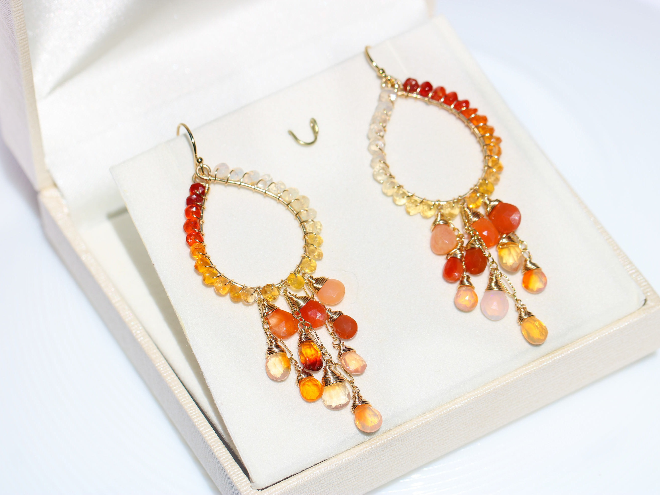 Mexican Fire Opal Chandelier Earrings in Gold Filled - Valltasy