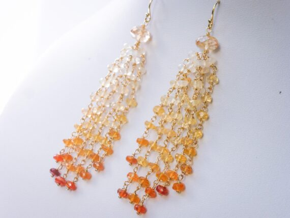 Mexican Fire Opal Tassel Earrings Wire Wrapped in Gold Filled