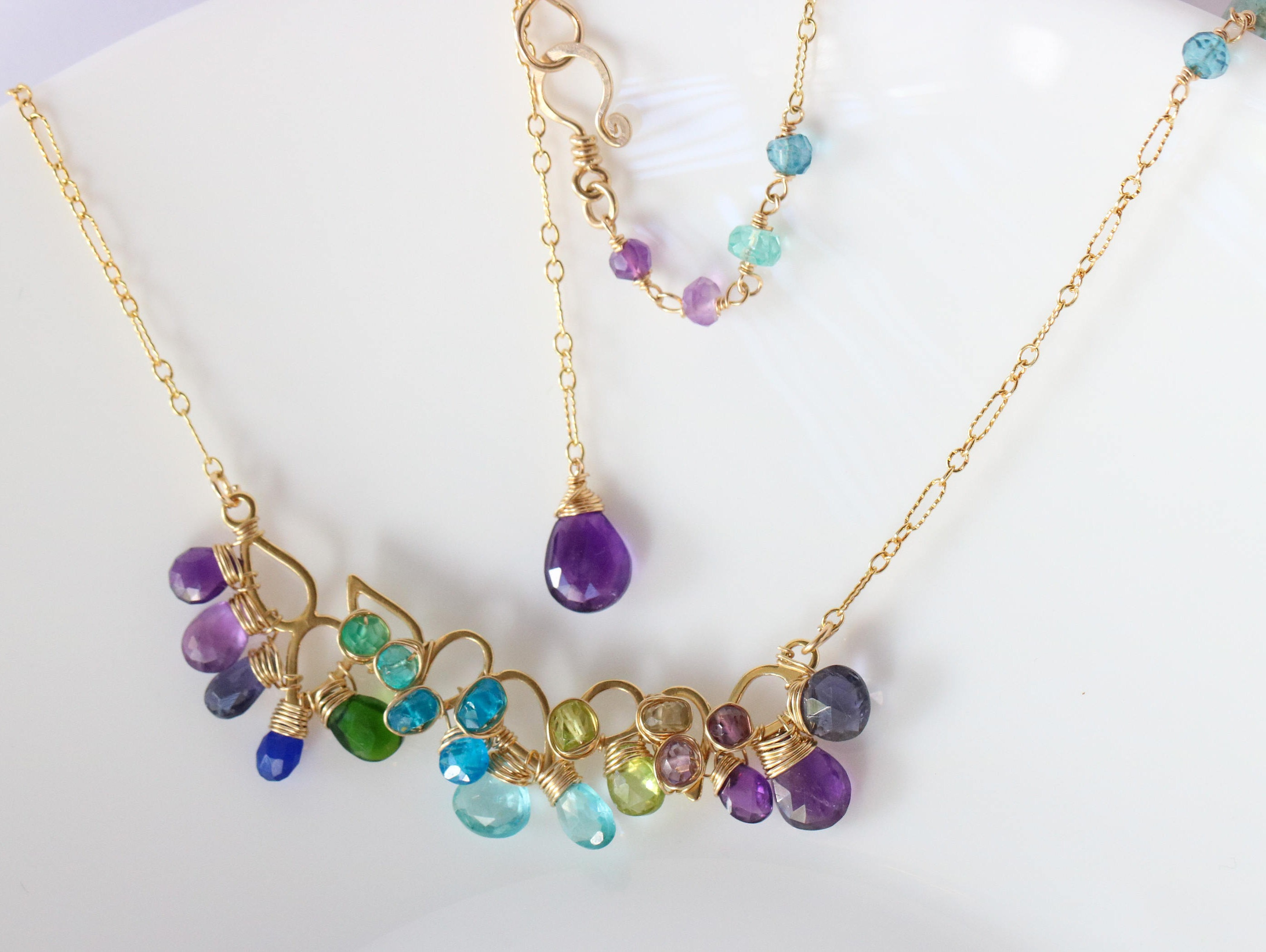 pearl amethyst gem necklace multi gemstone products aquamarine and