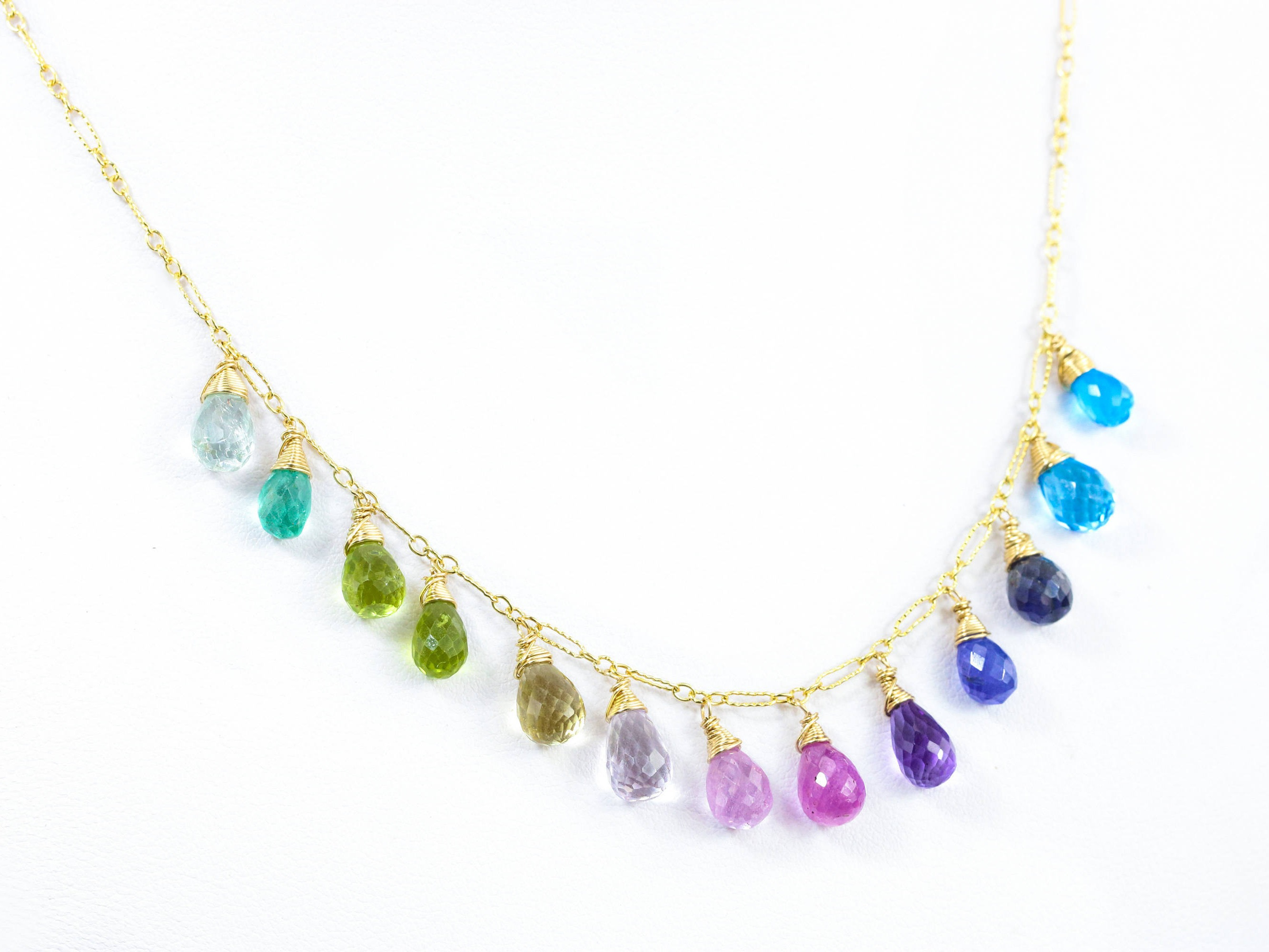 multi color yellow gold fortunoff long stores necklace gemstone jewelry island
