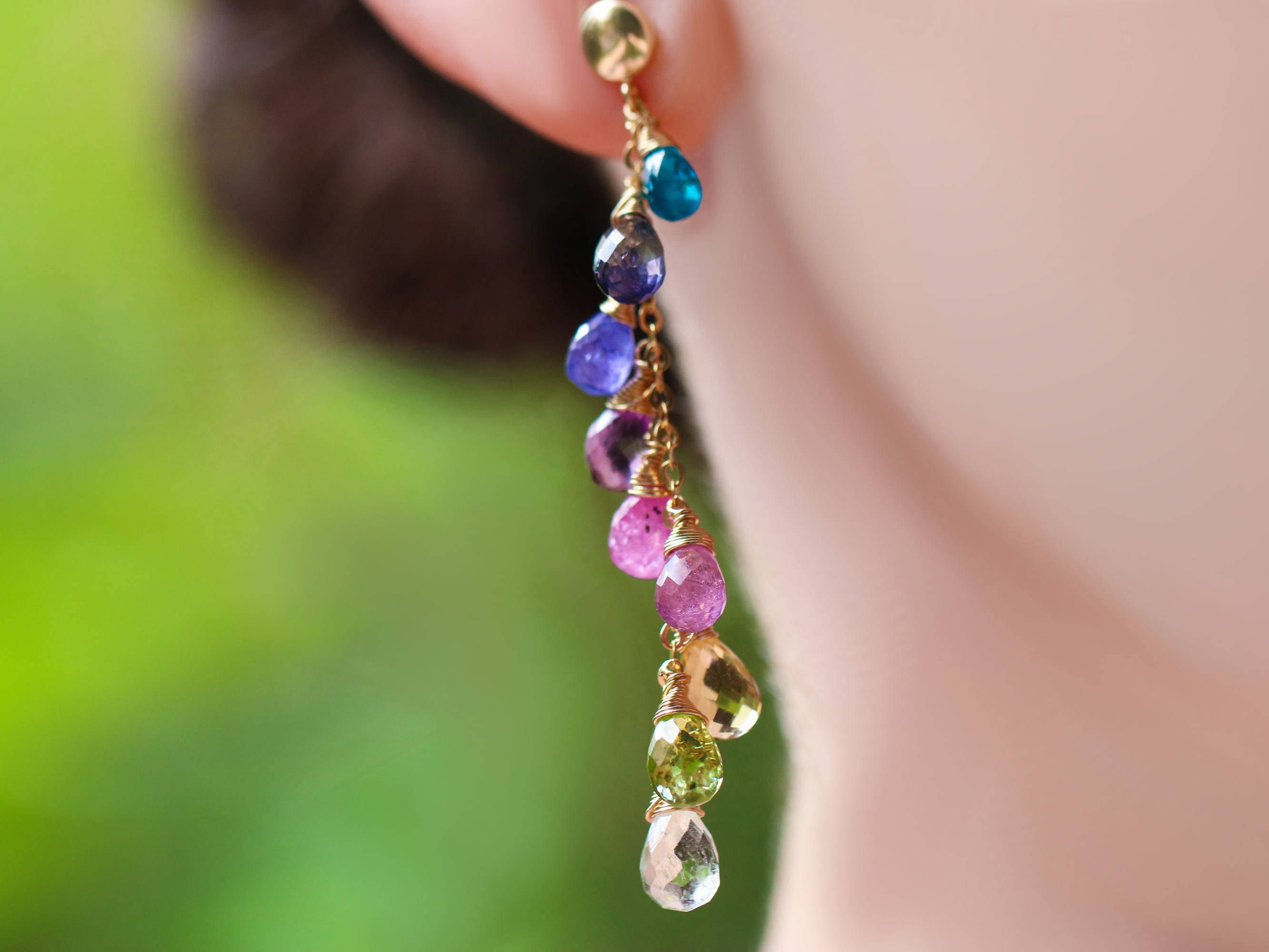 rainbow earrings collection modesens rose diamond gold stud bar ef product