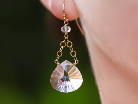 Natural Rock Crystal Quartz with Aquamarine Dangle Earrings