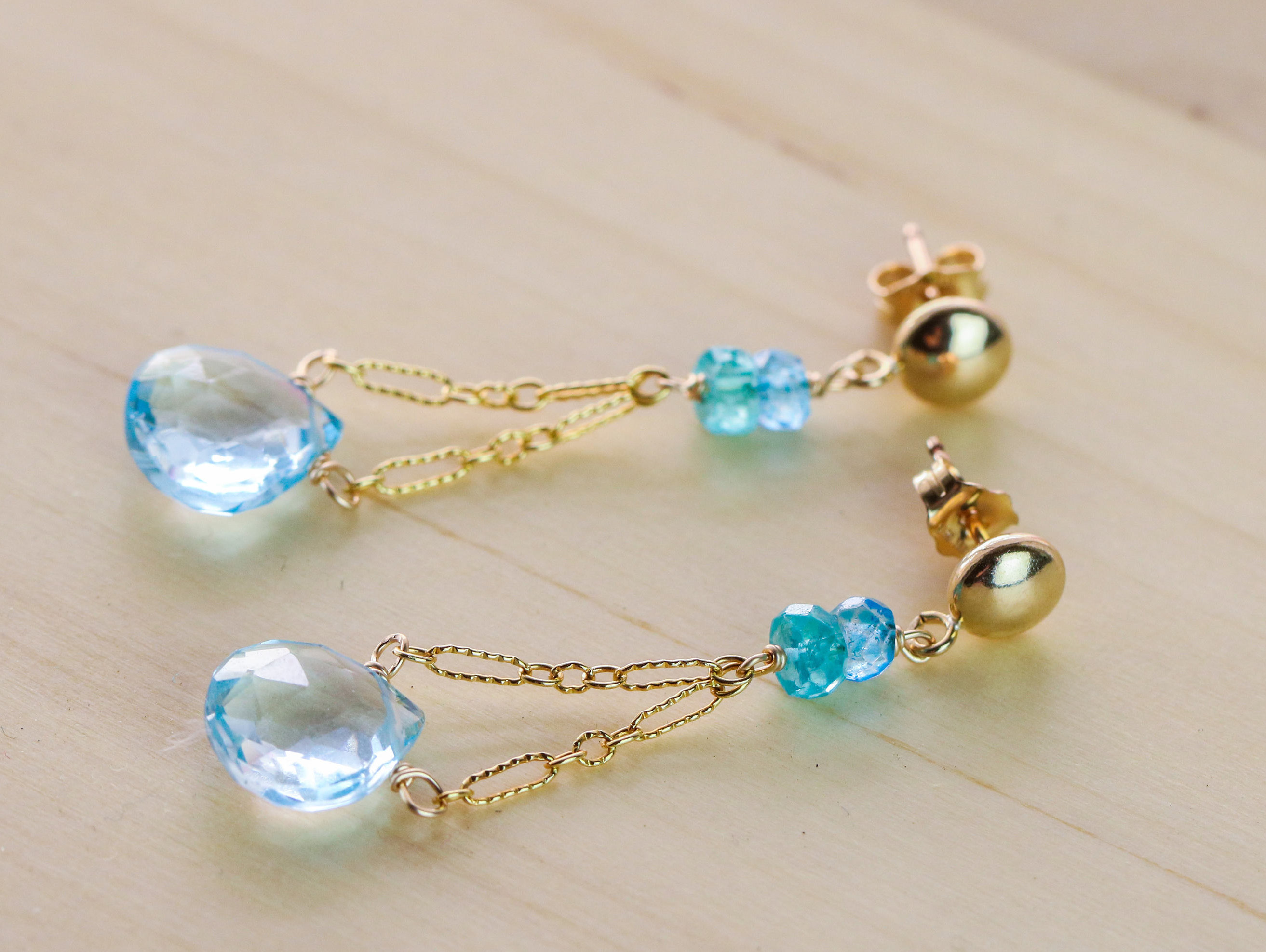 shop knot topaz earrings davina with combe blue drop test