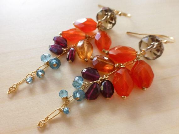 Orange Carnelian with Red Garnet and London Blue Topaz Dangle Earrings