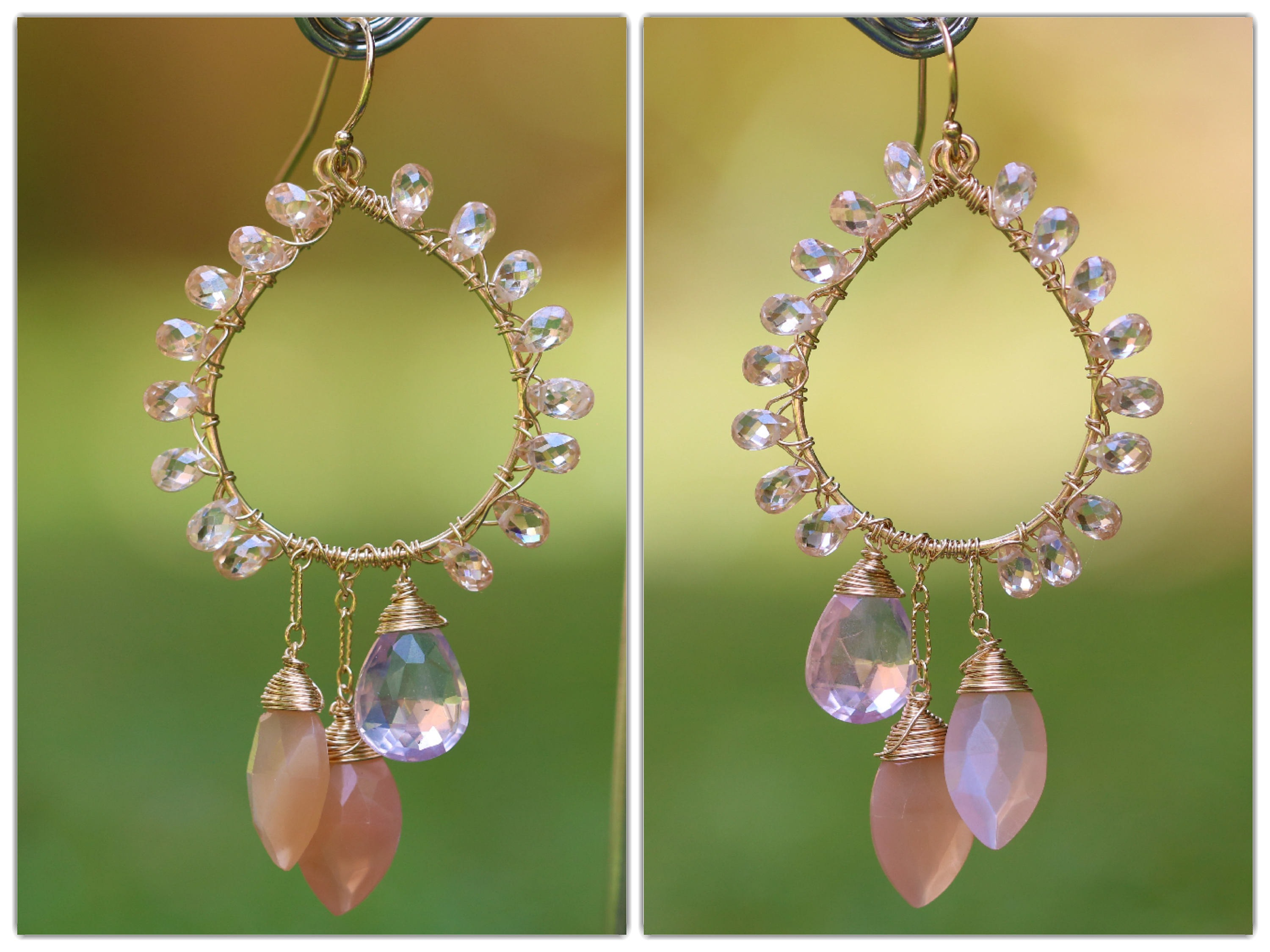 Peach moonstone and rose quartz statement chandelier earrings wire the arubaitofo Gallery