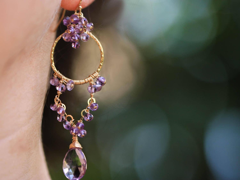 Pink amethyst chandelier earrings in gold filled valltasy the full moon earrings pink amethyst chandelier earrings in gold filled aloadofball Choice Image