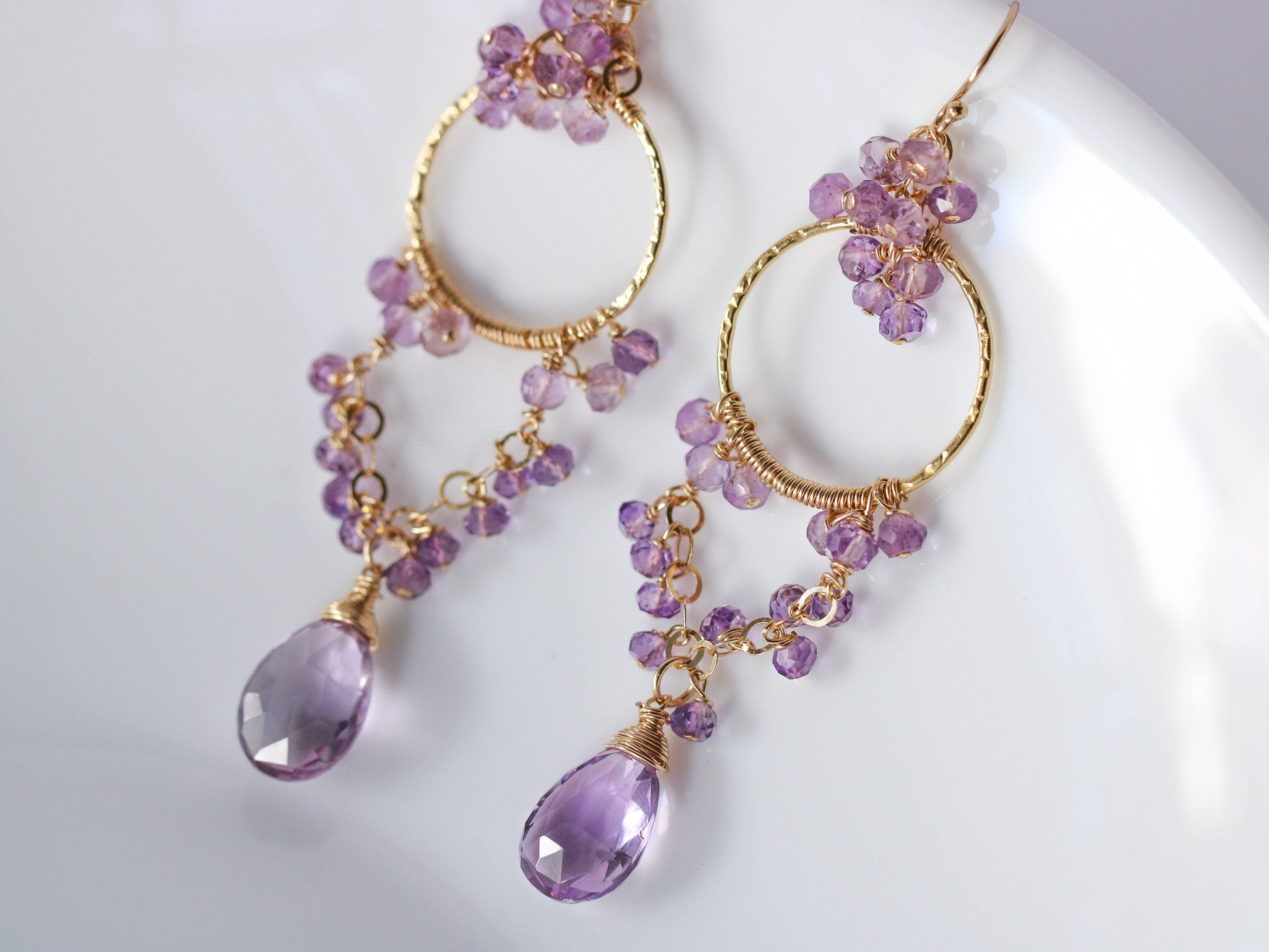 Pink amethyst chandelier earrings in gold filled valltasy 16497 mozeypictures Gallery