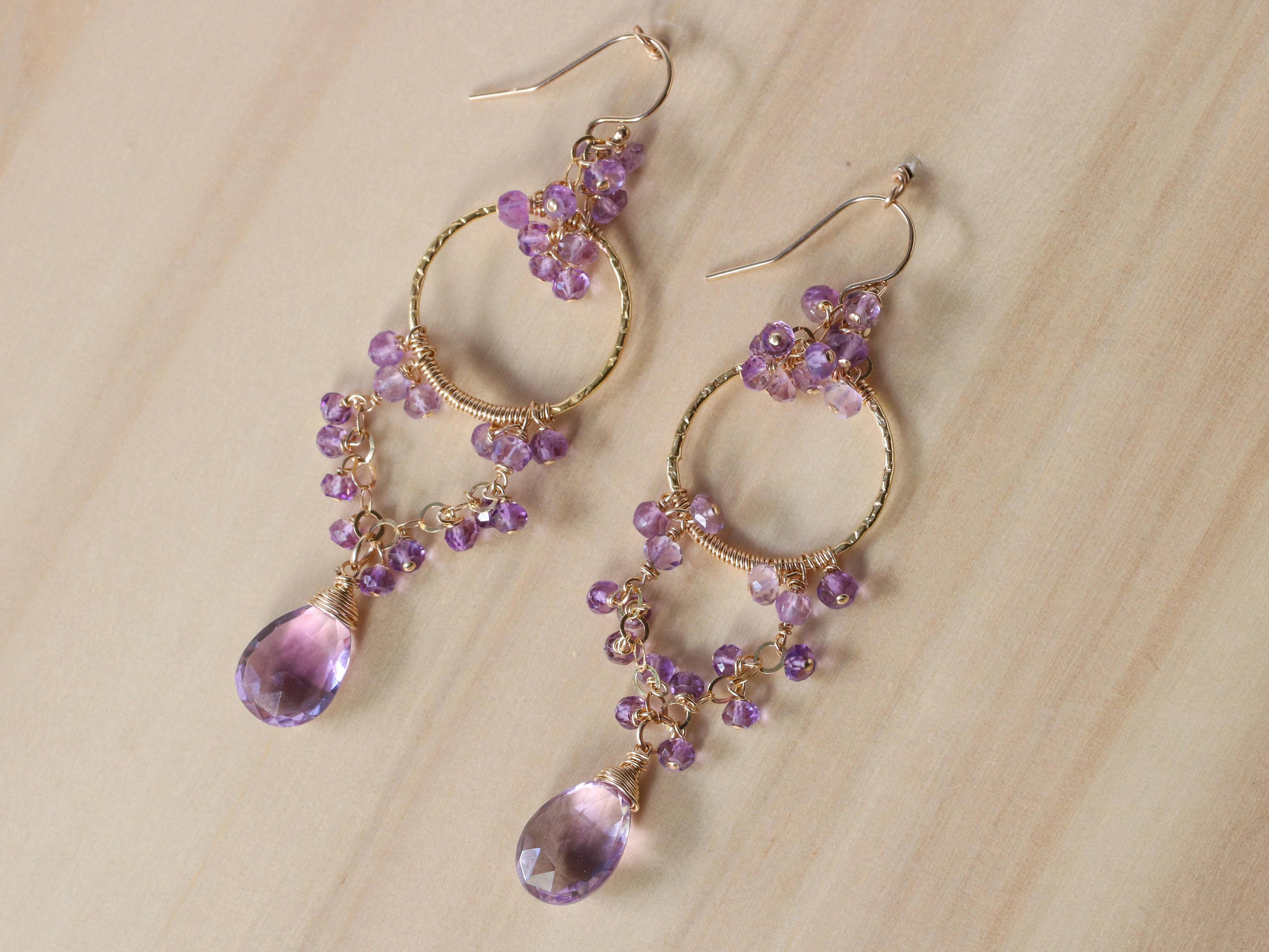 Pink Amethyst Chandelier Earrings in Gold Filled - Valltasy