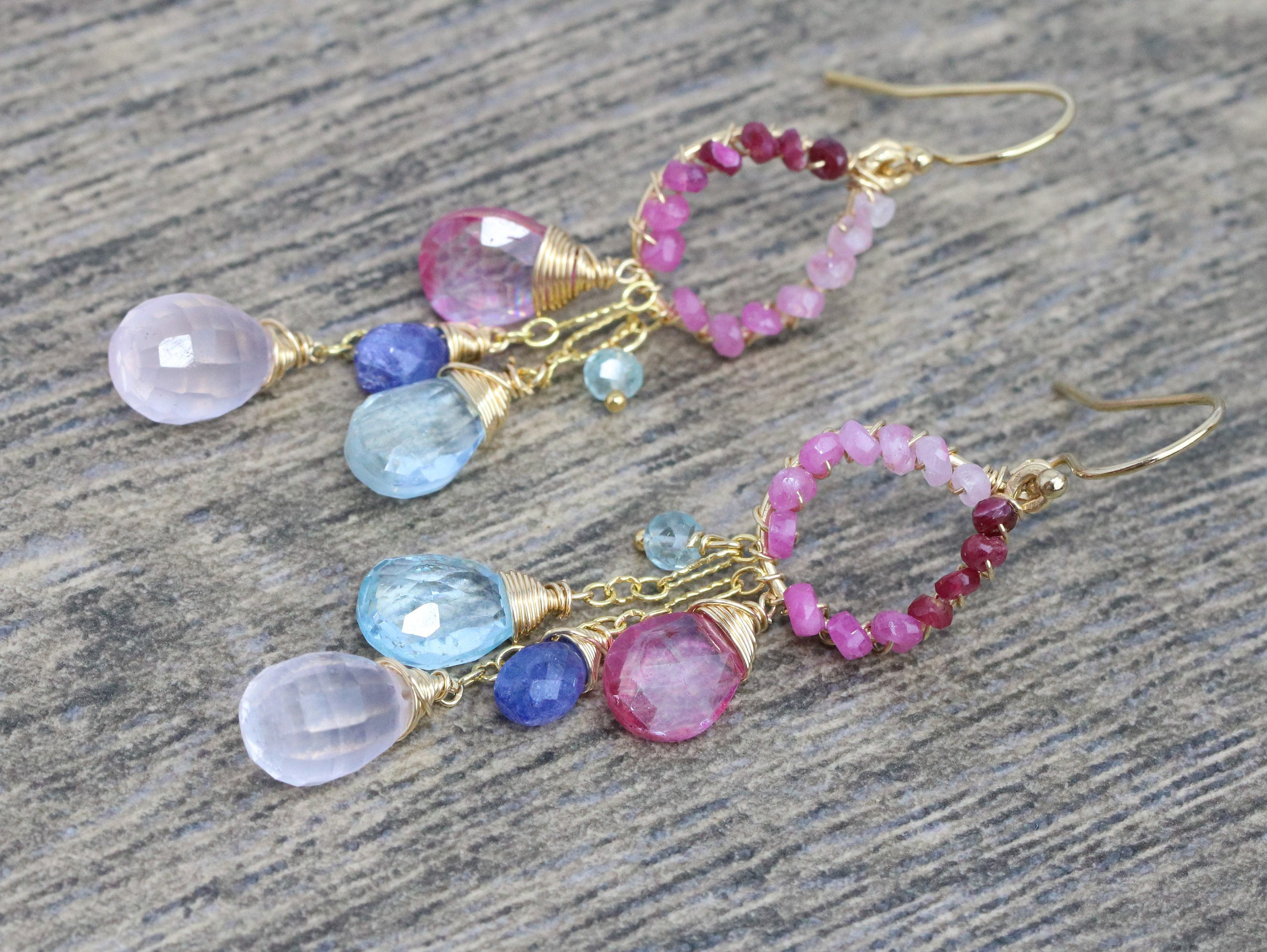 Pink and blue topaz chandelier earrings pink ruby wire wrapped the mozeypictures Gallery