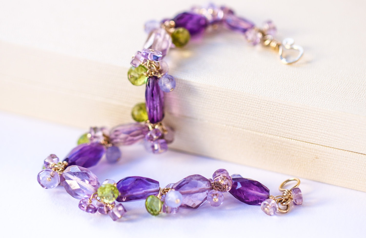 gold cluster the and bracelet in amethyst green design filled with pink peridot dream purple