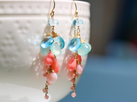 Pink Coral with Pink Opal and Blue Topaz Dangle Earrings in Gold Filled