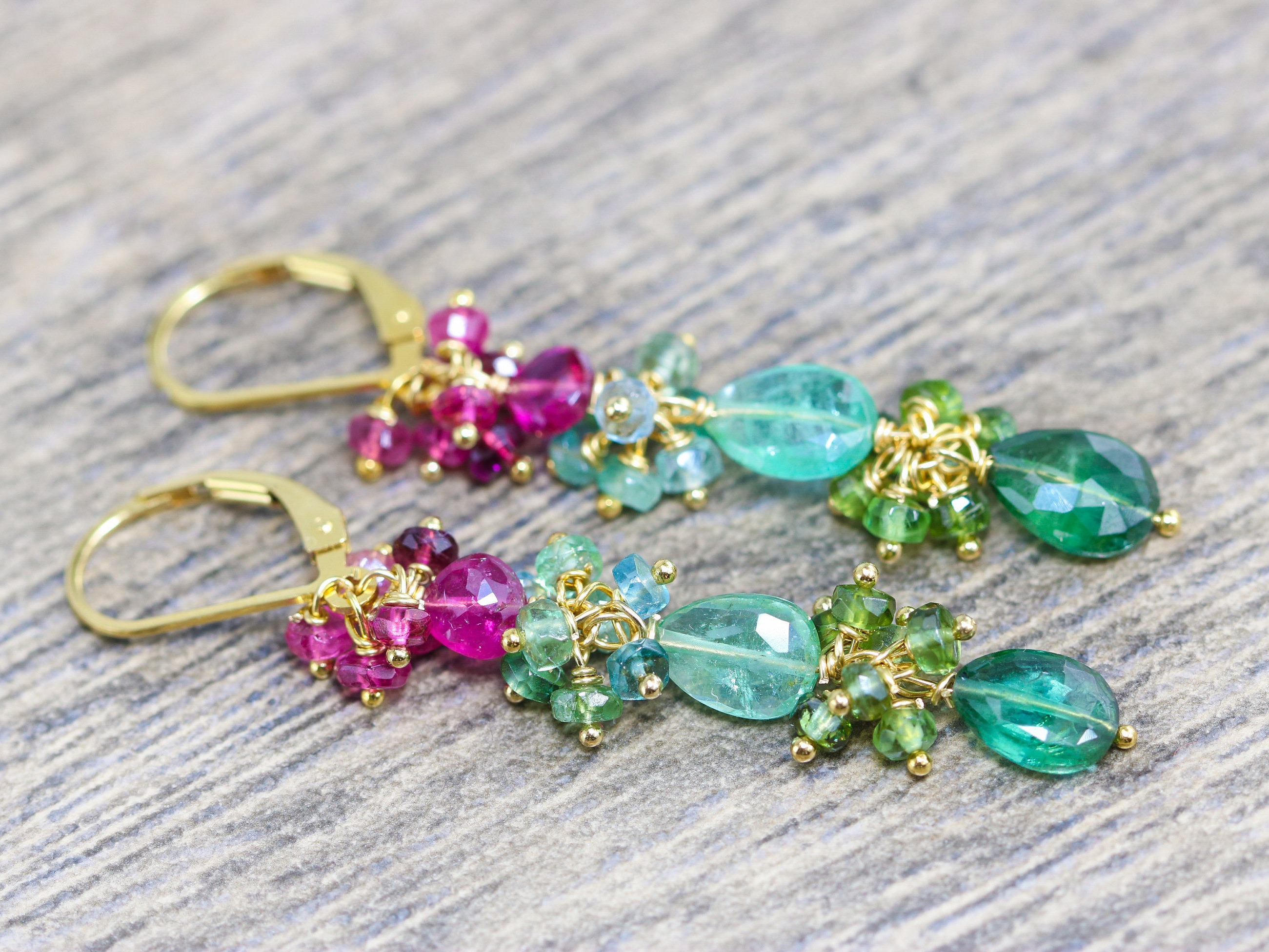 Popular Pink, Green and Paraiba Teal Blue Tourmaline Dangle Earrings in  UT56