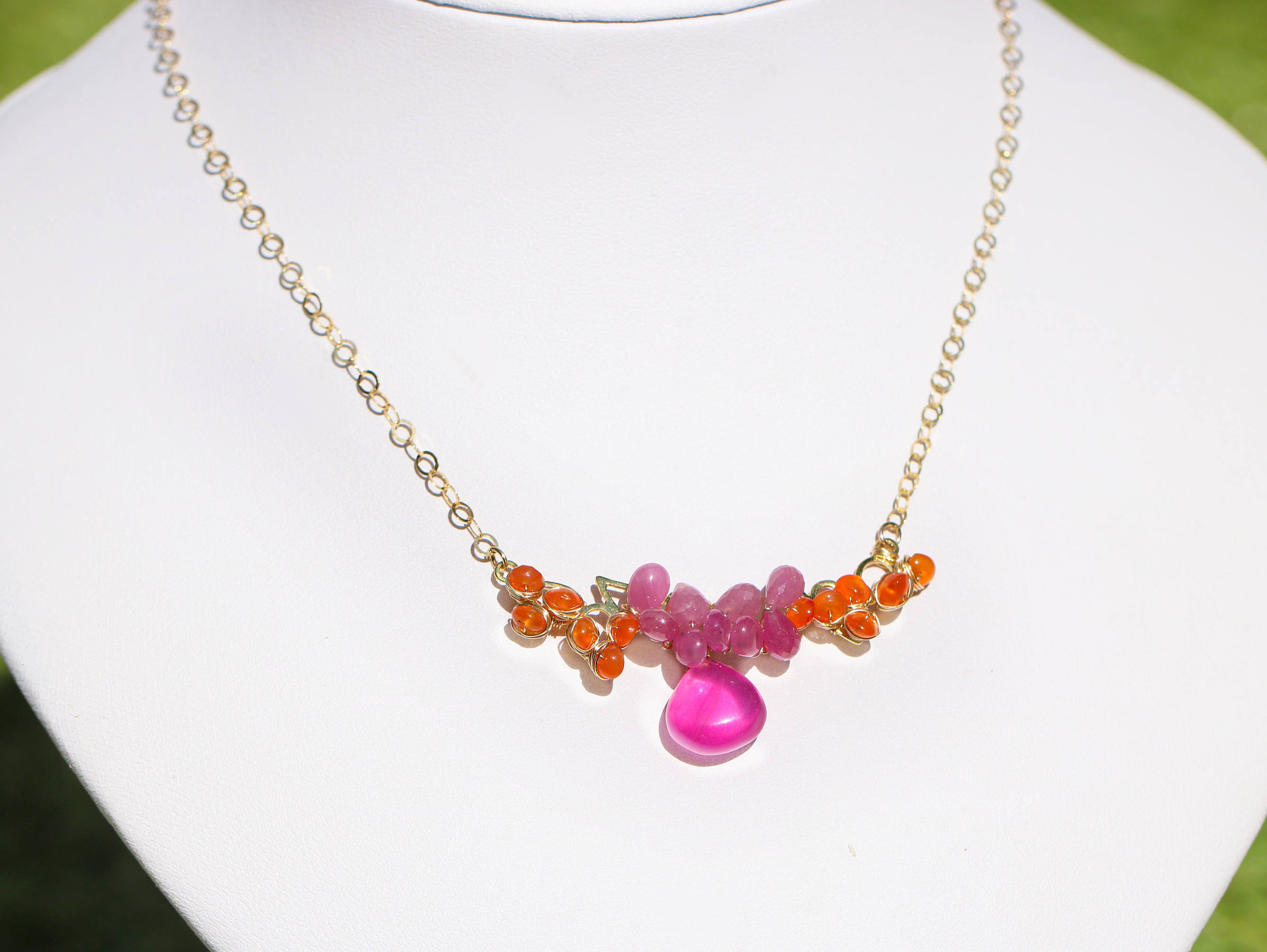 colorful index sapphire with diamond necklace