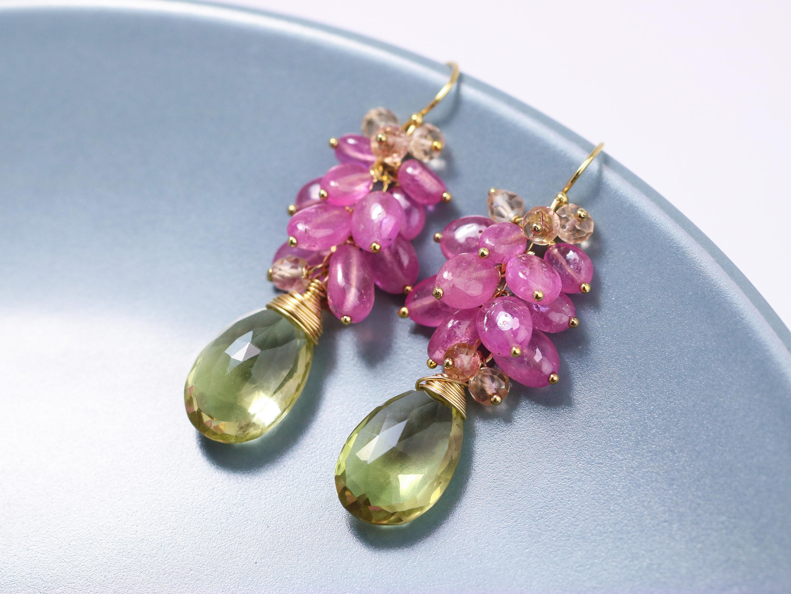 cluster pink briolette with the topaz color bi huge lemon briolettes design sapphire statement natural bloom earrings