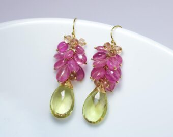 Pink Sapphire Earrings with Huge Natural Lemon Topaz briolettes, Statement Cluster Earrings