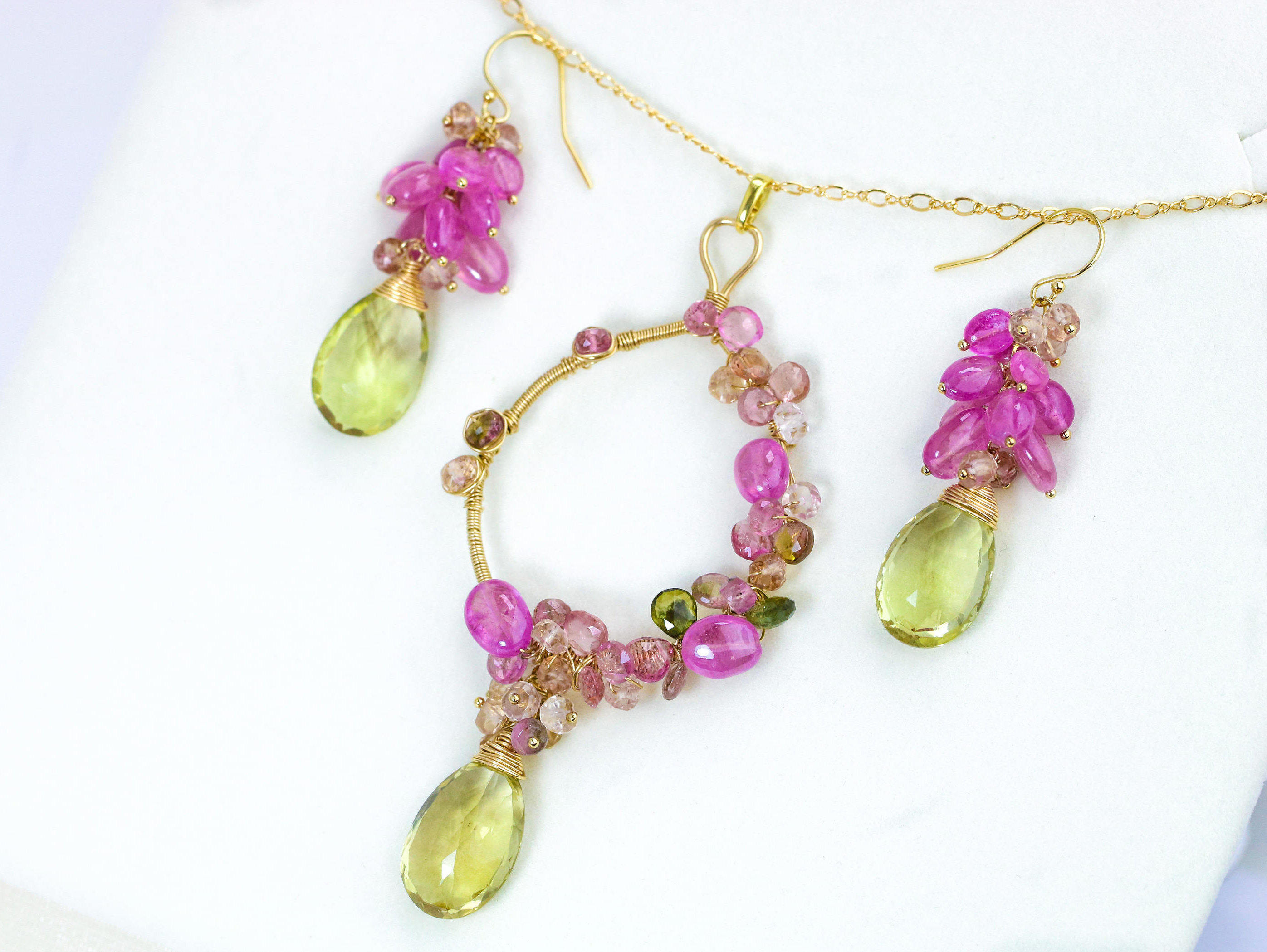 by pin pink dangle sapphire kulicke pearls beads on earrings and gold etsy briolette