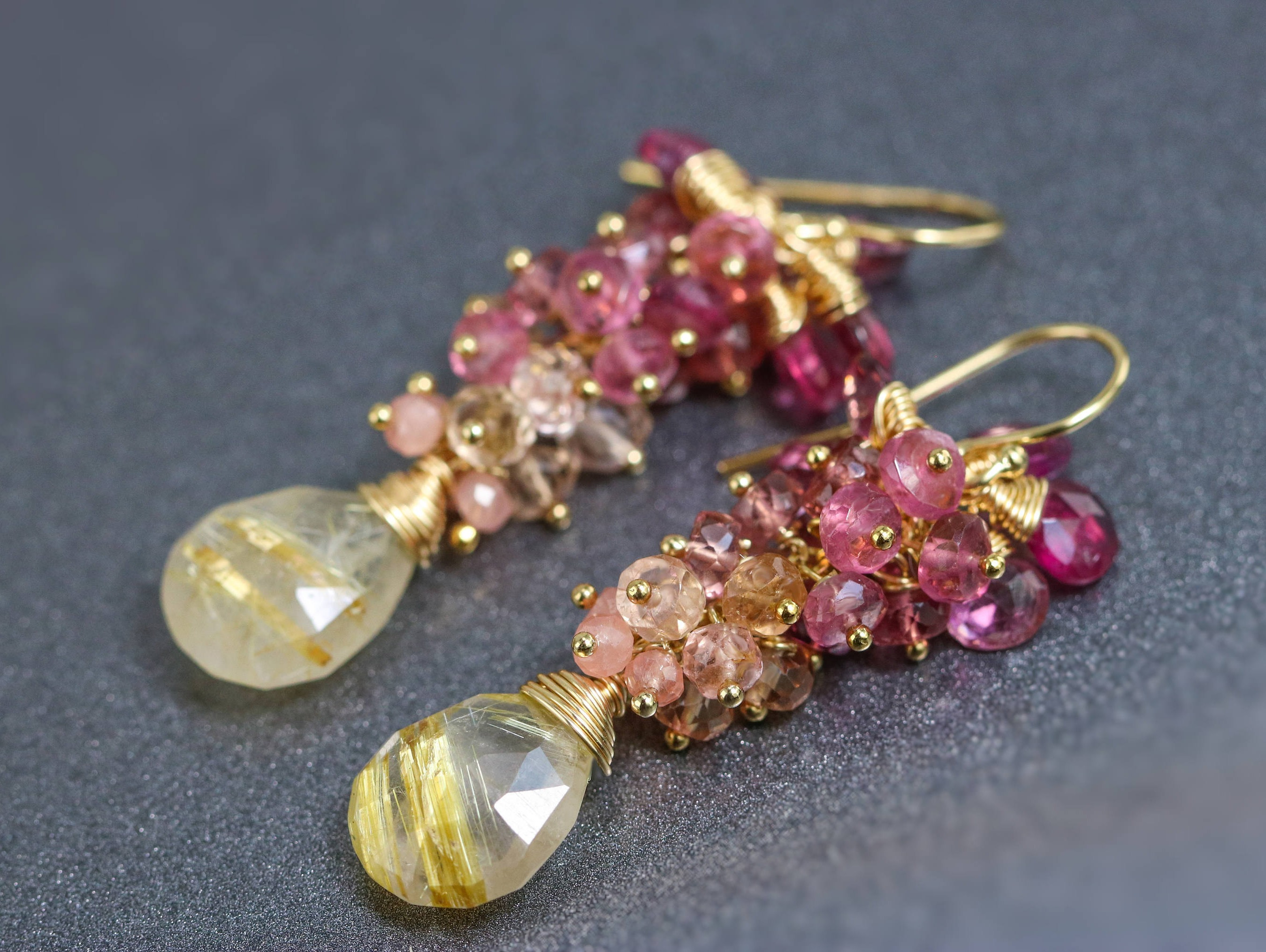 Pink tourmaline and golden rutilated quartz gold filled for Golden rutilated quartz jewelry