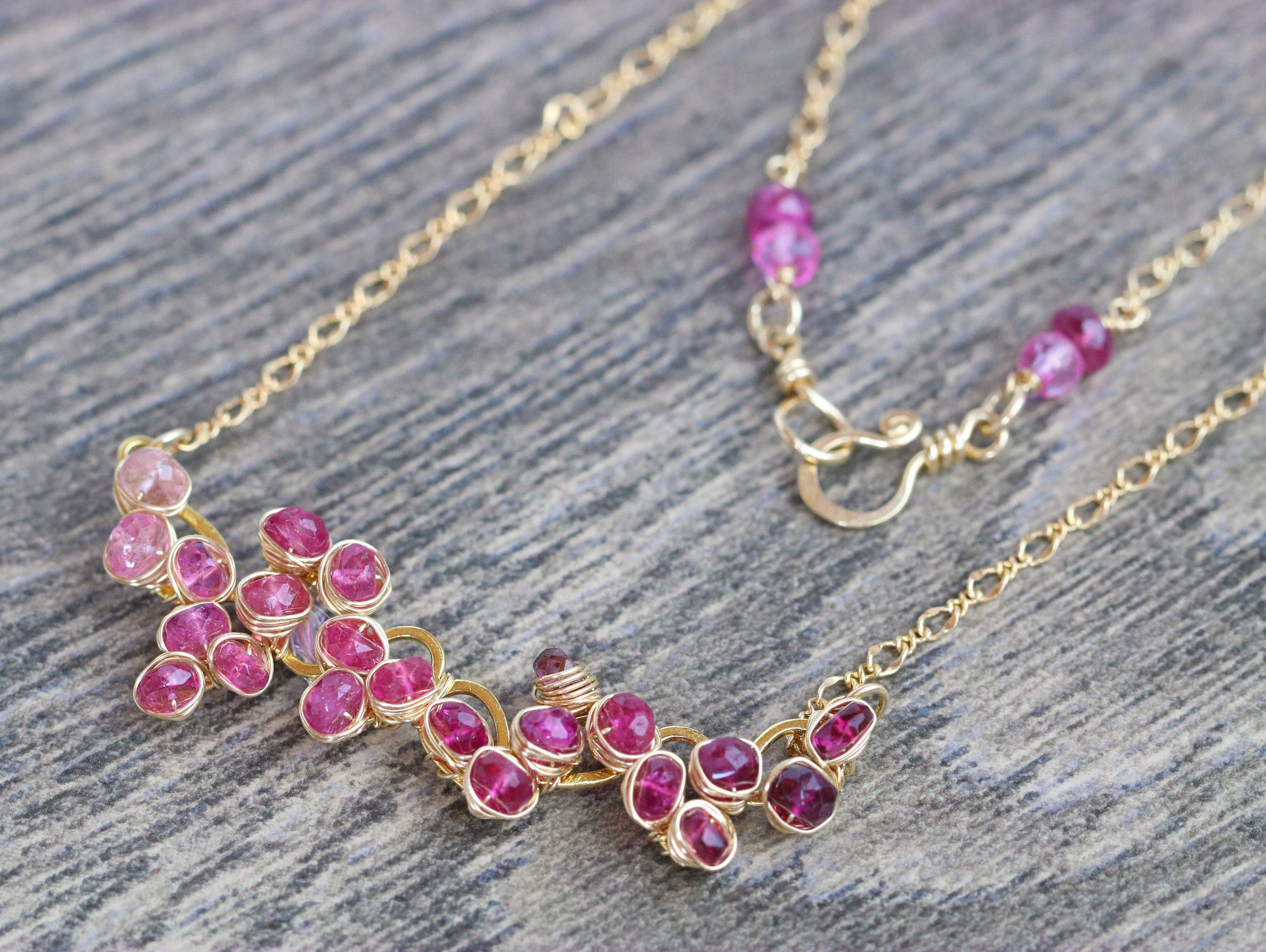 Pink Tourmaline Gemstone Bar Necklace Wire Wrapped in Gold Filled ...