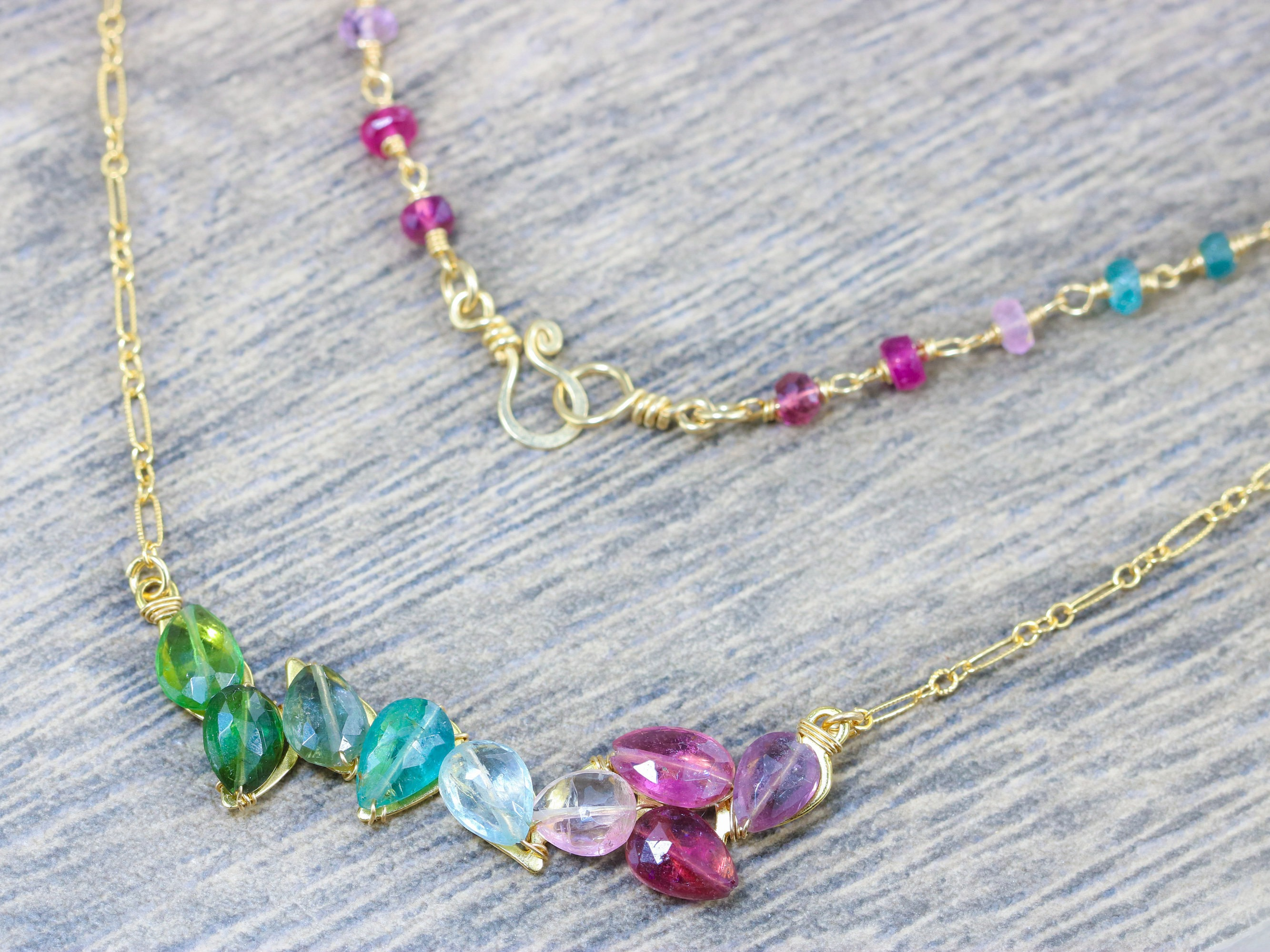 Purple, Pink, Blue and Green Tourmaline Bar Necklace Wire Wrapped in ...