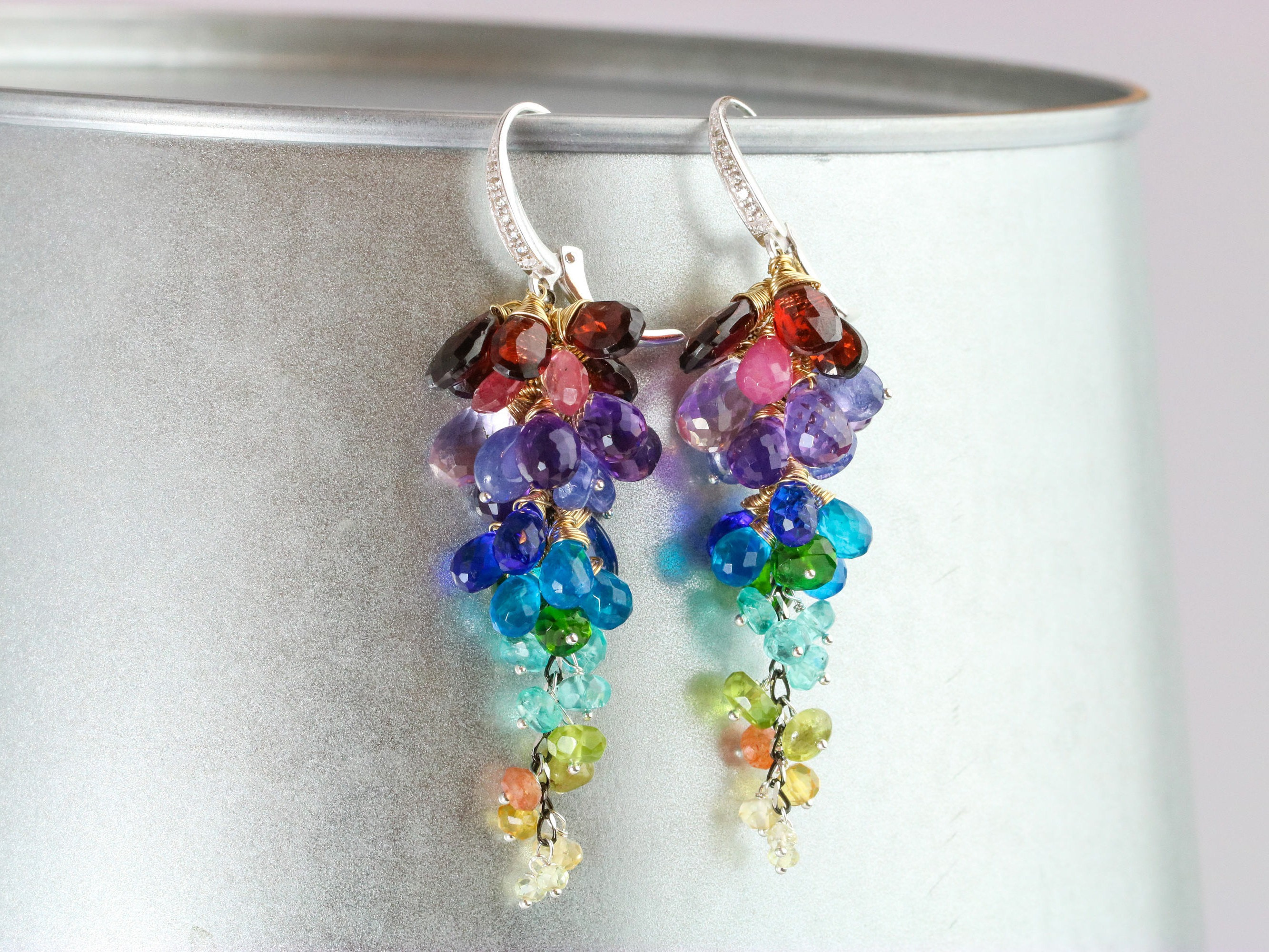 necklace set pendant rainbow earrings jewelry ring pin