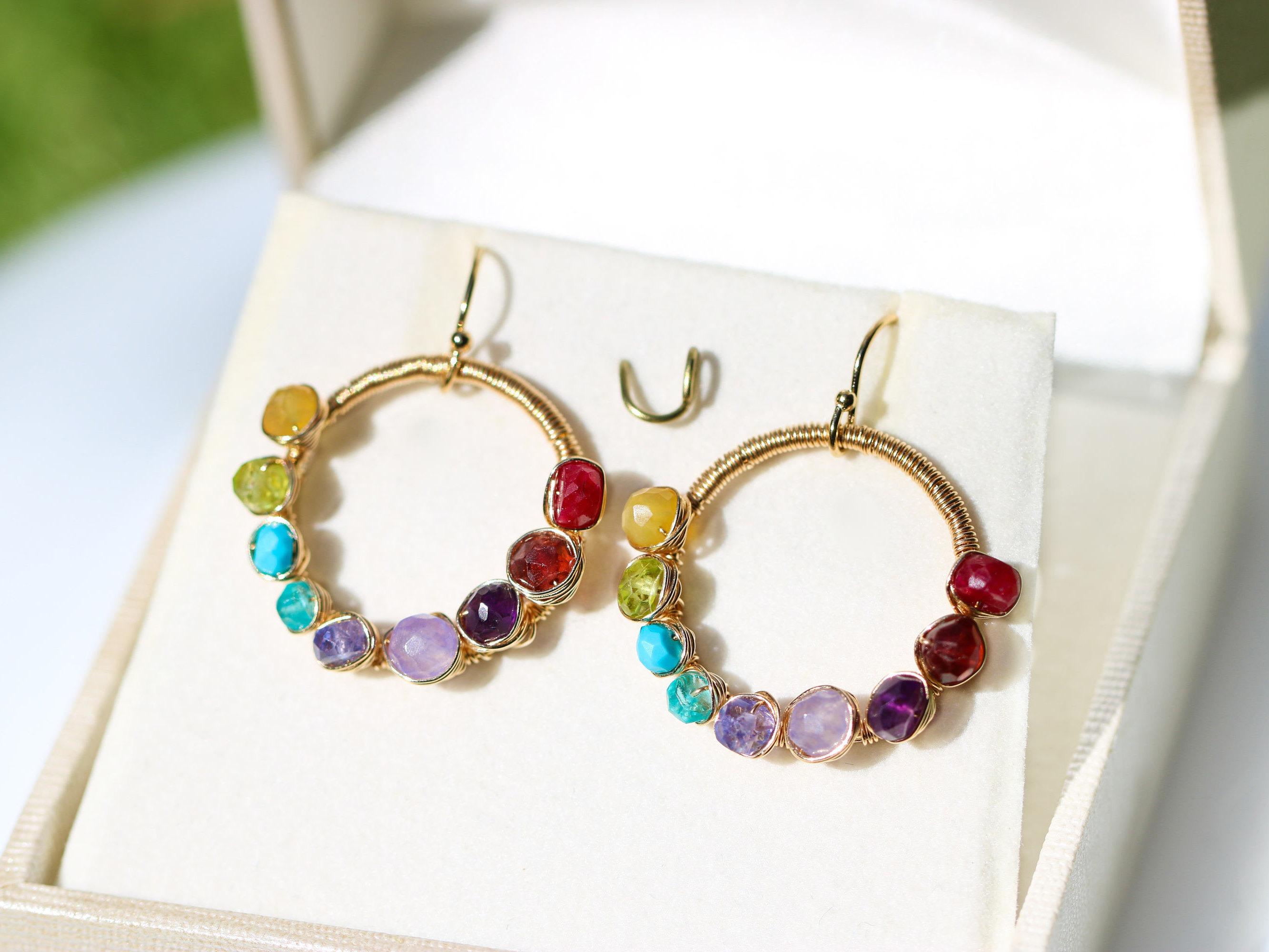 Rainbow Gemstone Wire Wrapped Hoop Earrings - Valltasy