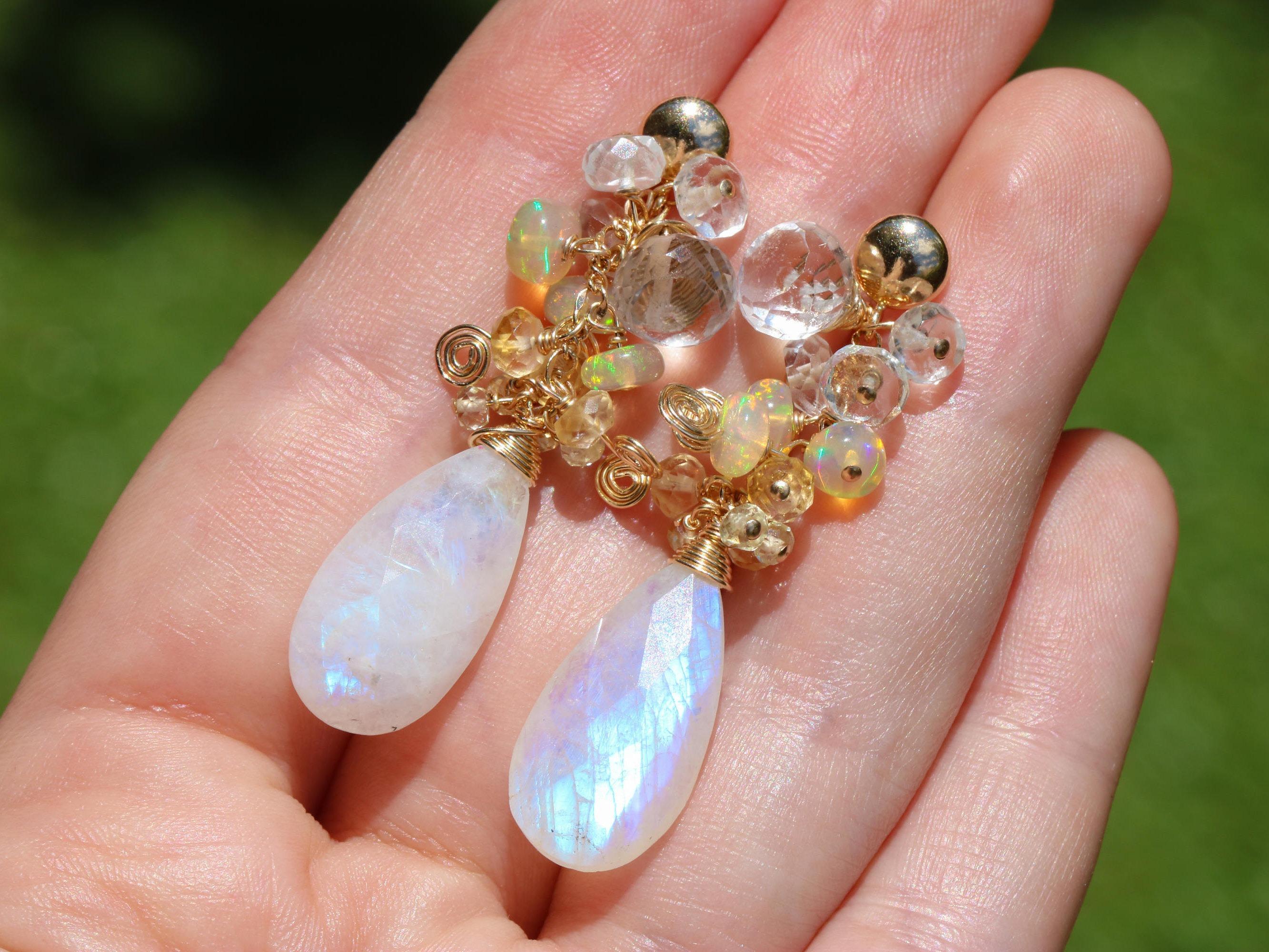 Rainbow Moonstone Dangle Earrings with Yellow Ethiopian Opal ...