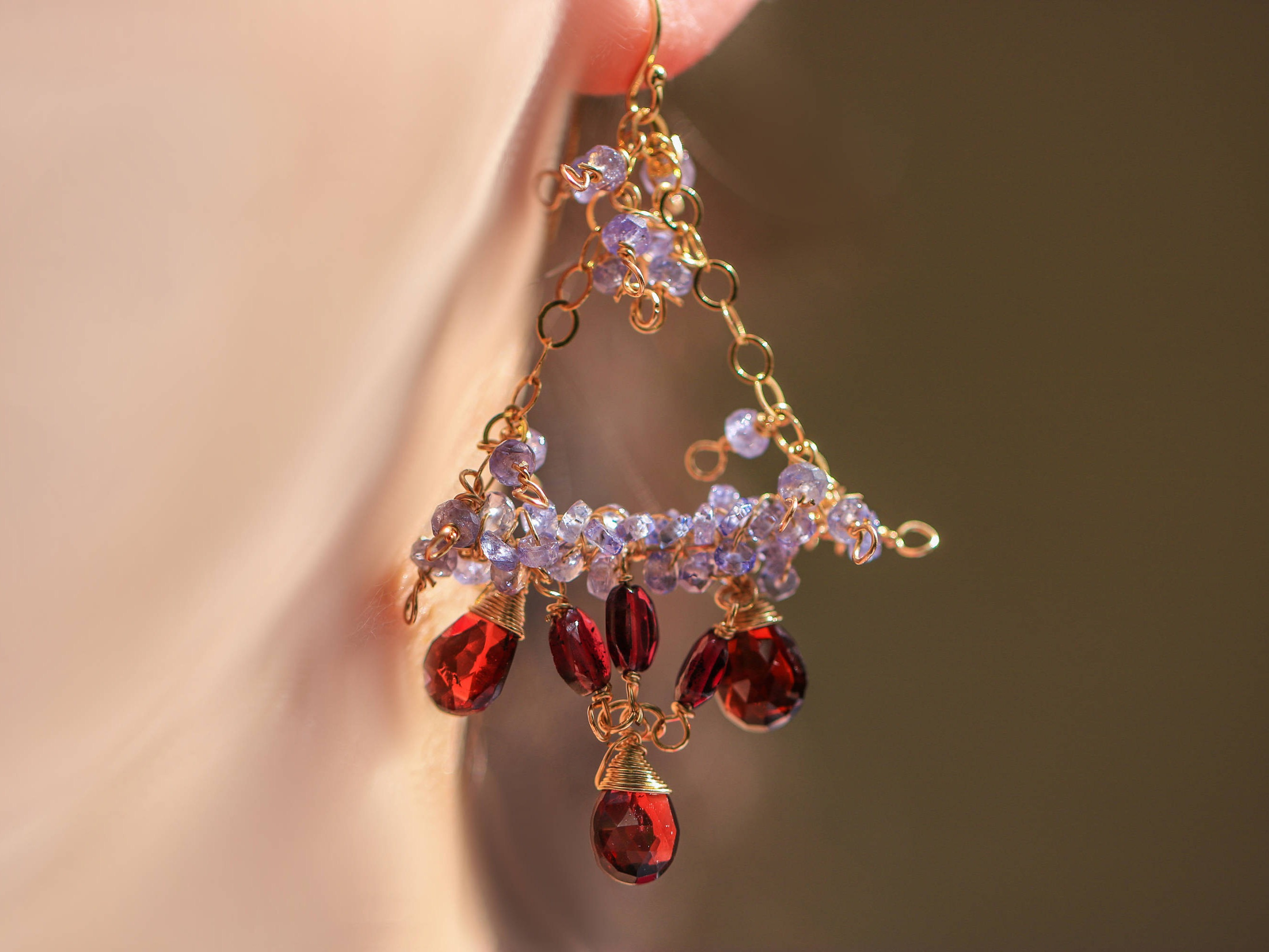 Red garnet and blue tanzanite chandelier earrings wire wrapped in the arubaitofo Gallery