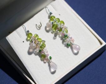 Rose Quartz and Peridot Silver Dangle Earrings