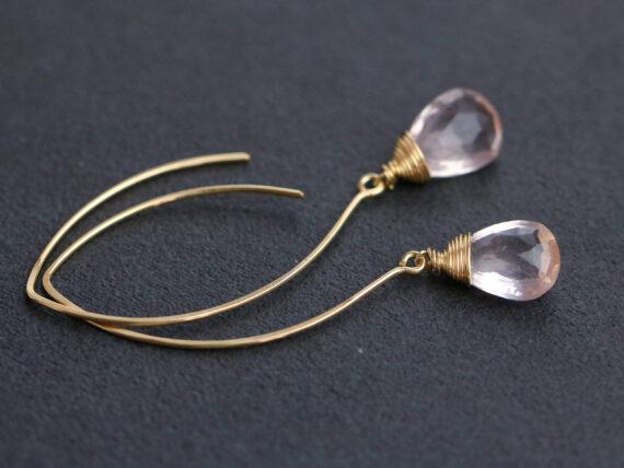 Rose Quartz Earrings, Handmade Open Hoop Gold Filled Earrings with Gemstone Drops